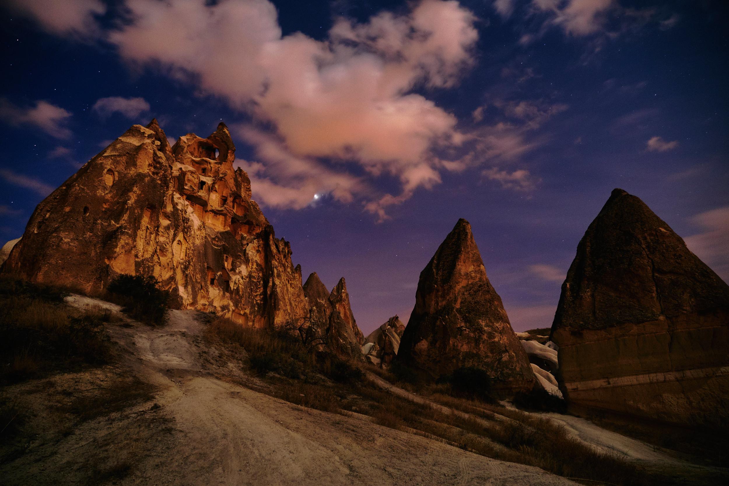 Cappadocia rock churches at night