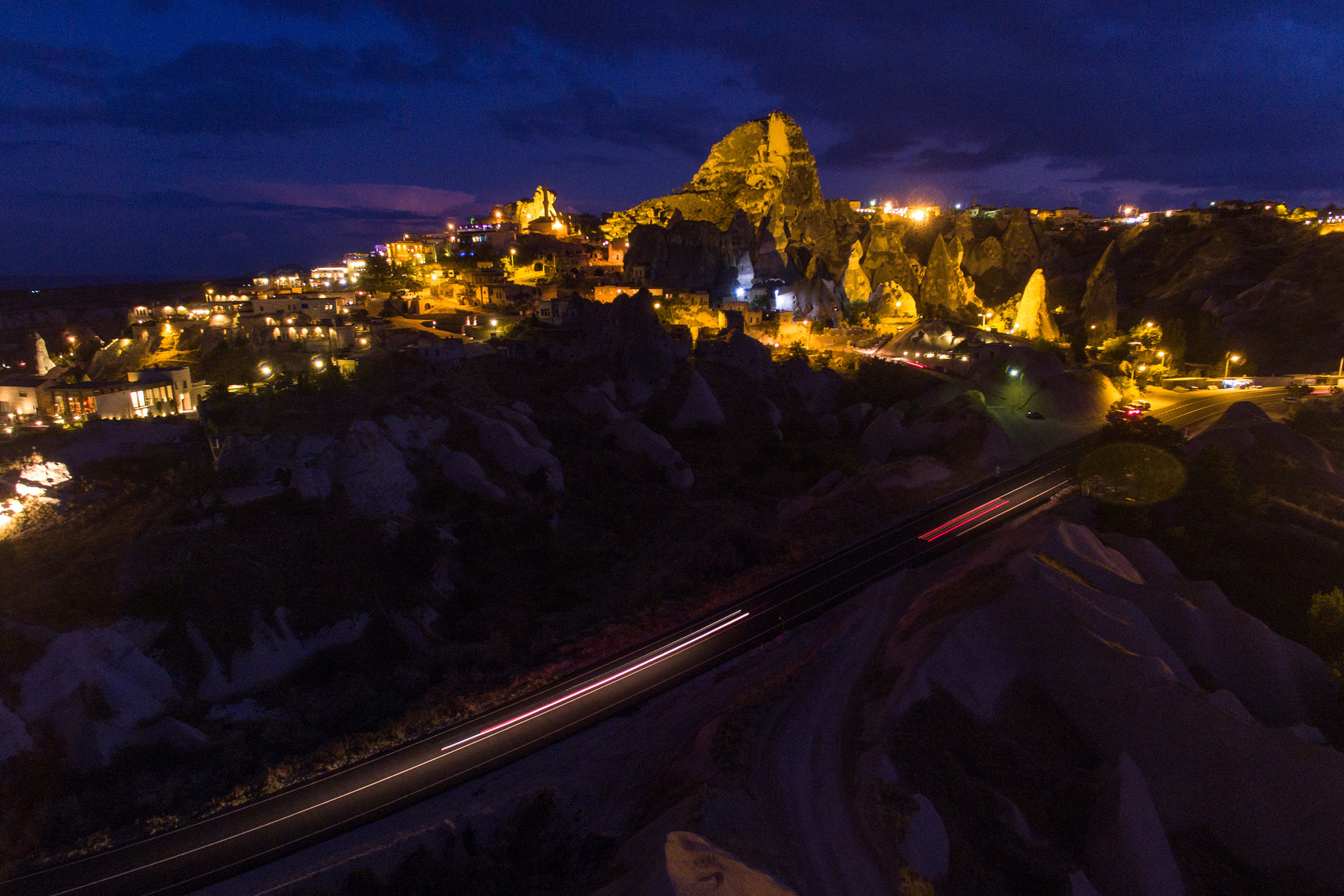 Uchisar after dark from a drone