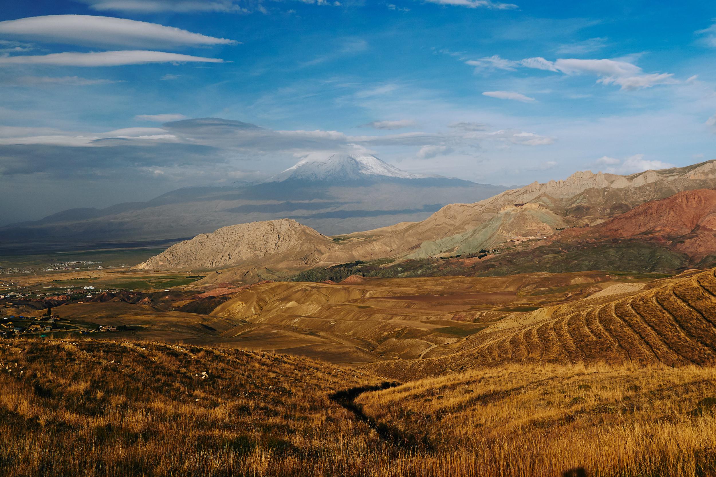 Mount Ararat and fields below