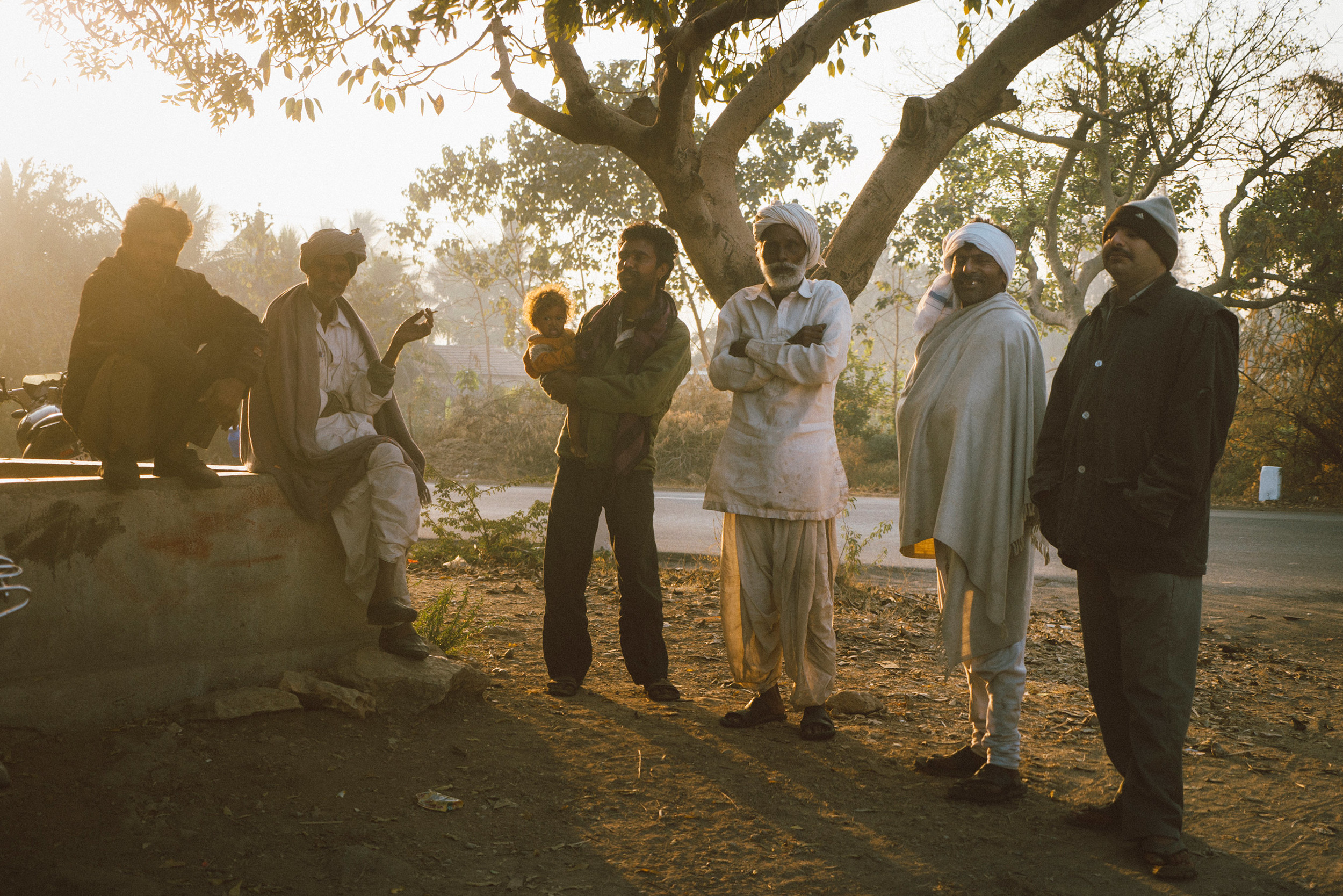 Gujarati men hanging out in the morning