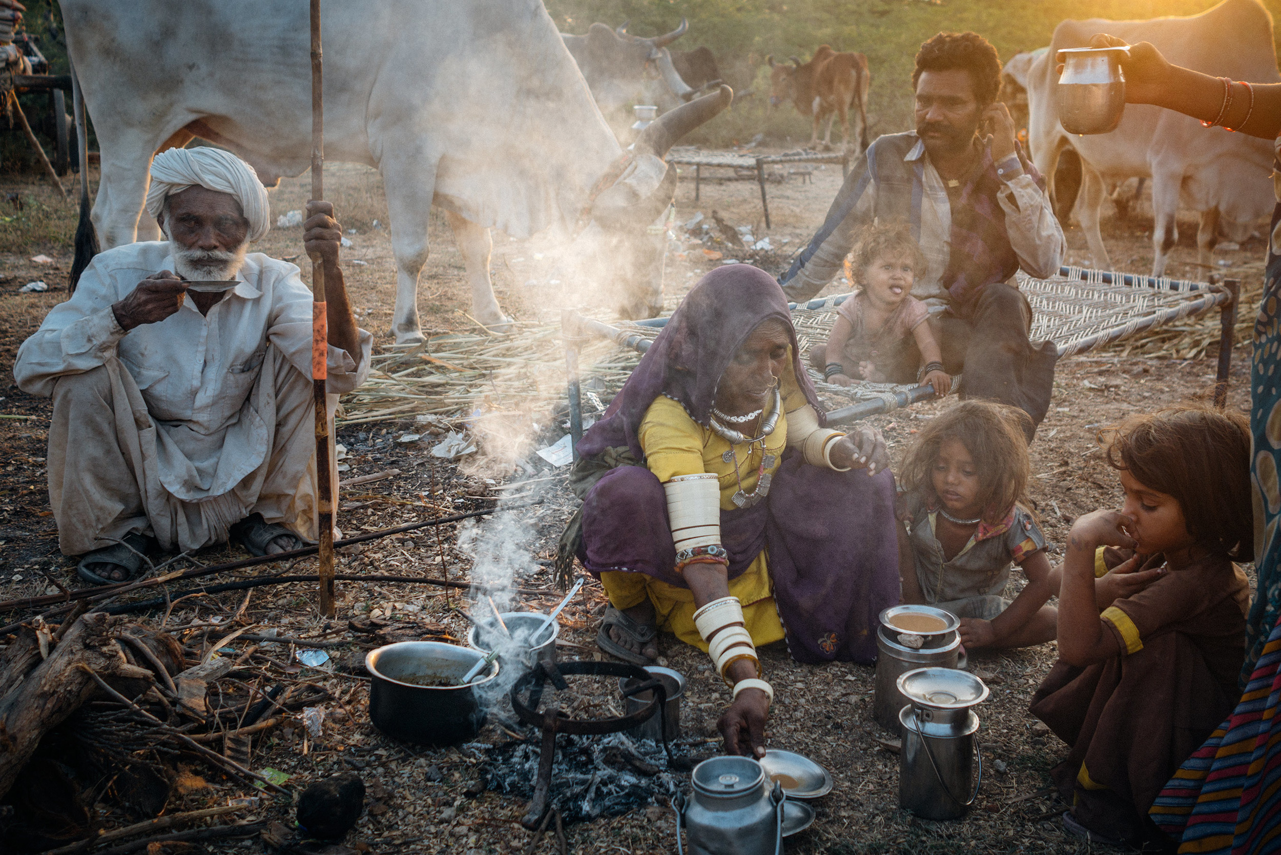 Nomads preparing and drinking tea