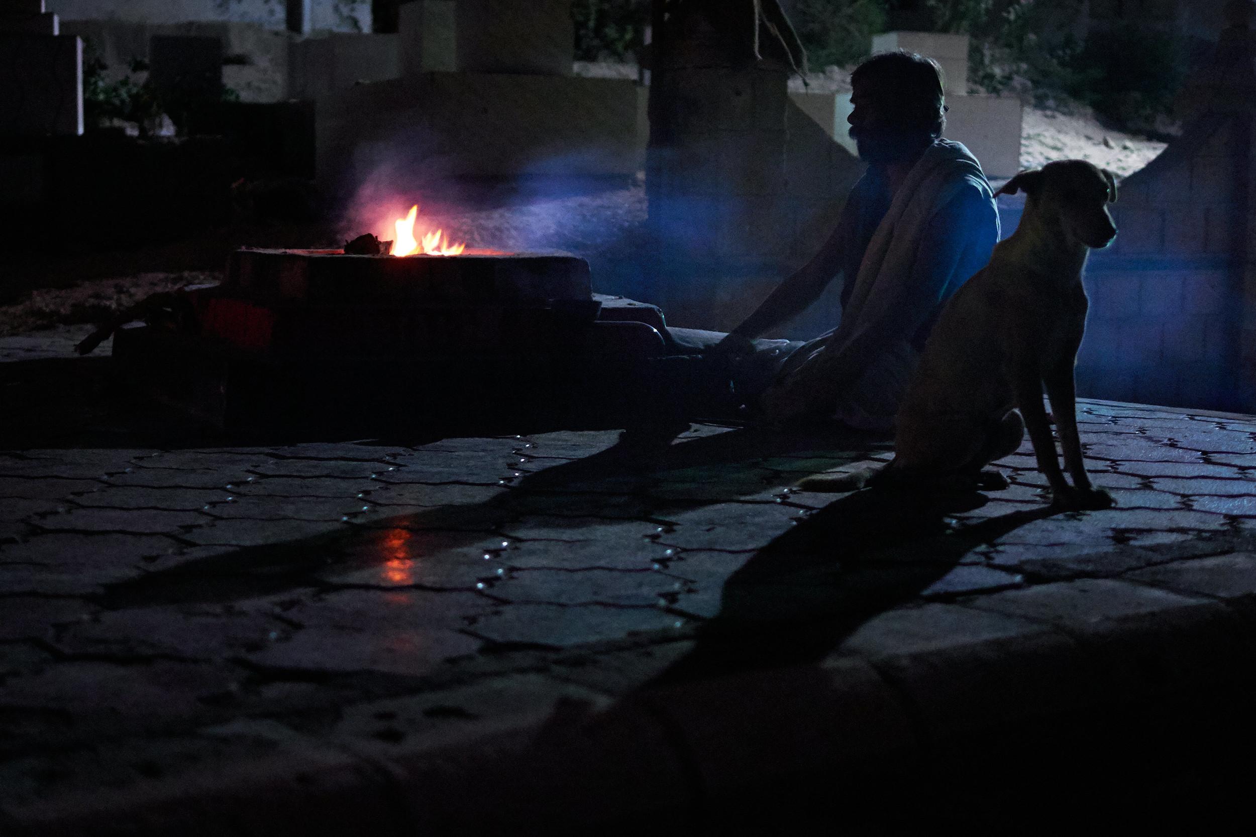 Fire prayer late at night in Dwarka