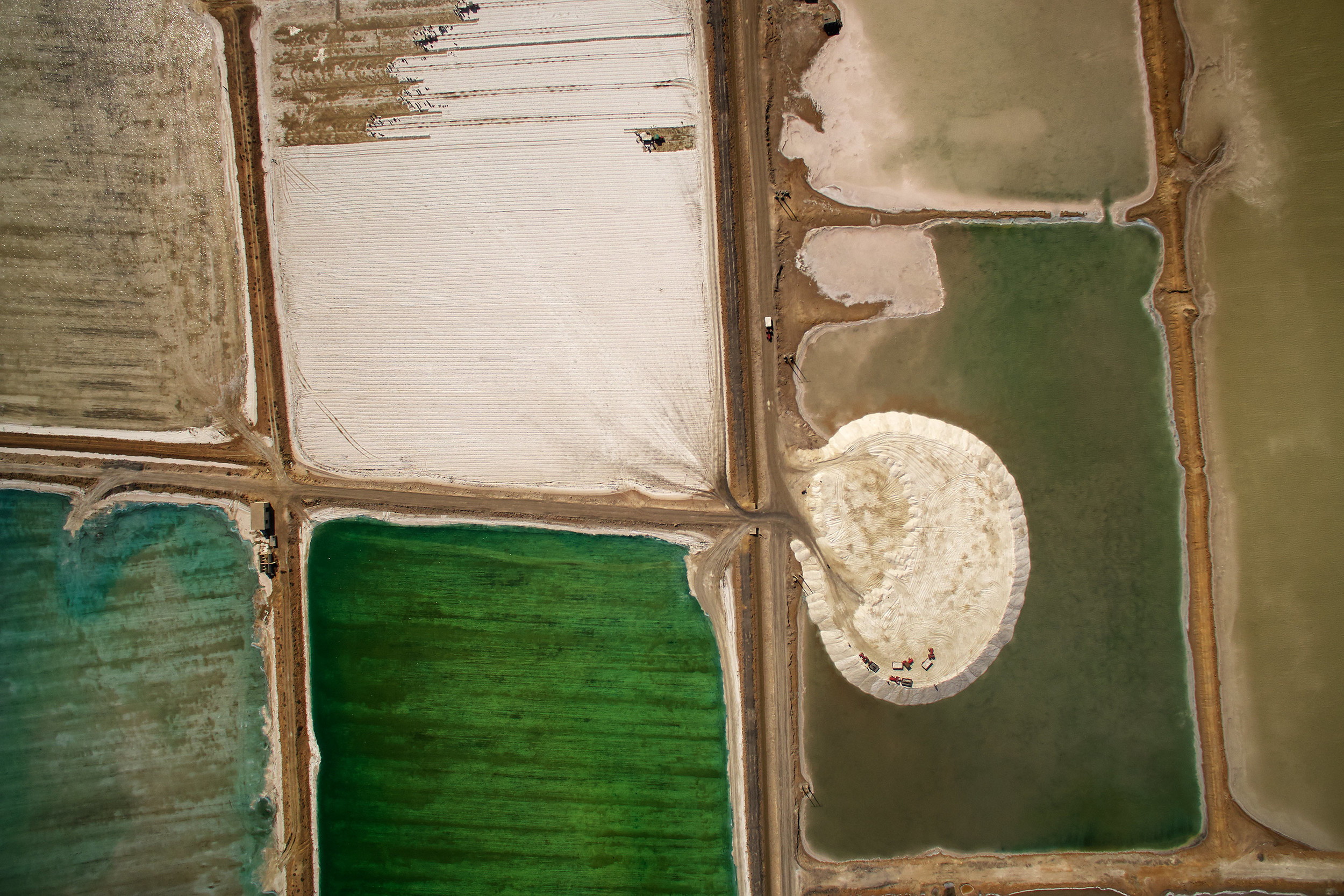View of salt fields from high above