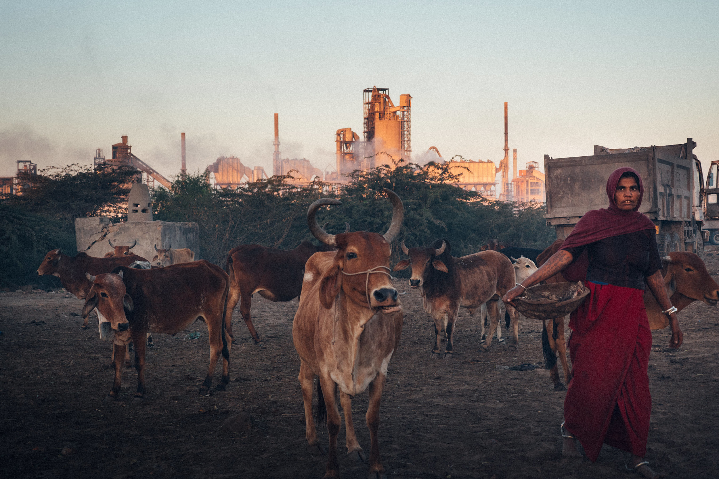 Village woman in front of the chemical plant