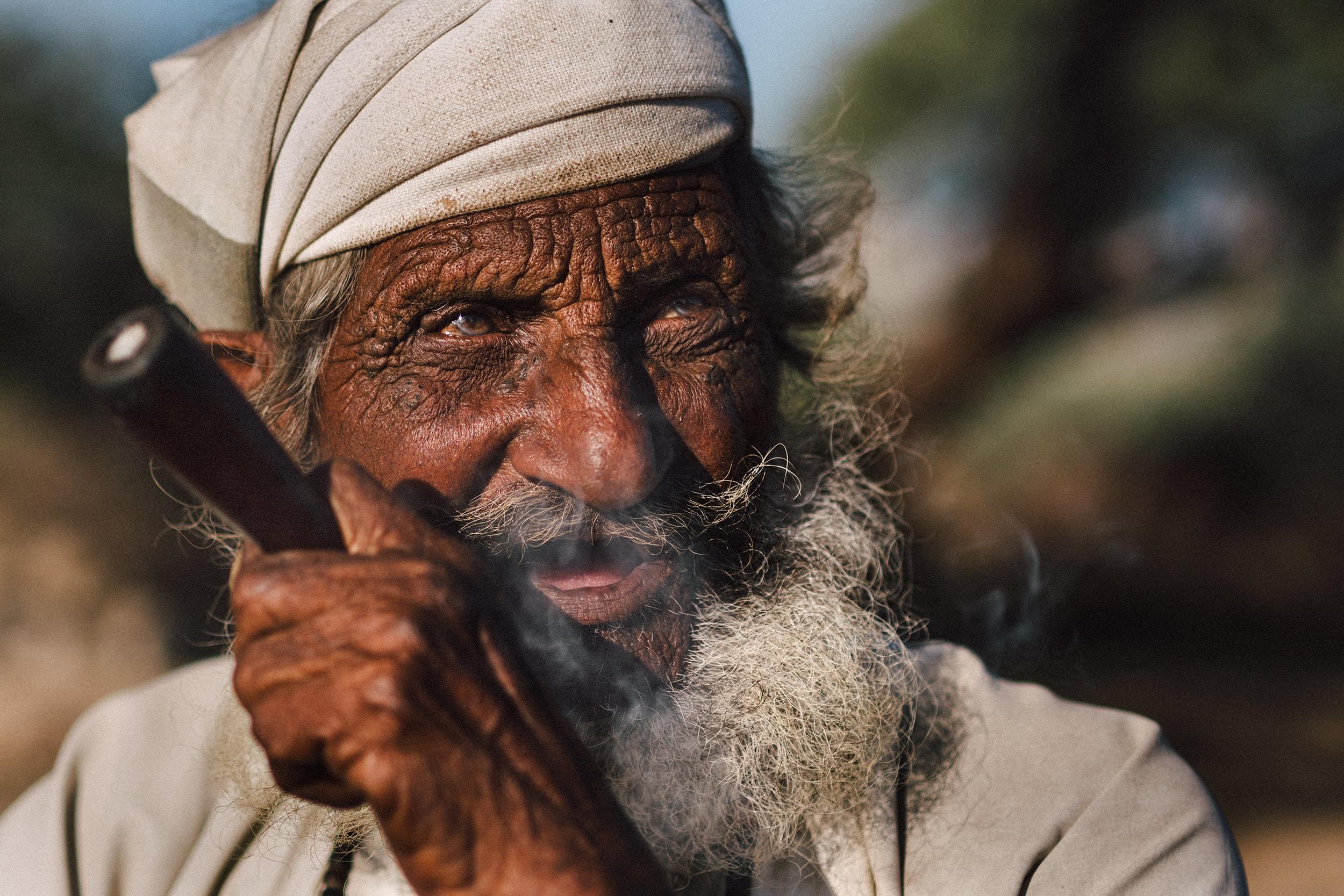Village elder smoking
