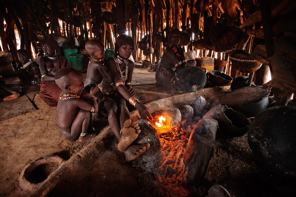 Making fire in a traditional Hamer hut