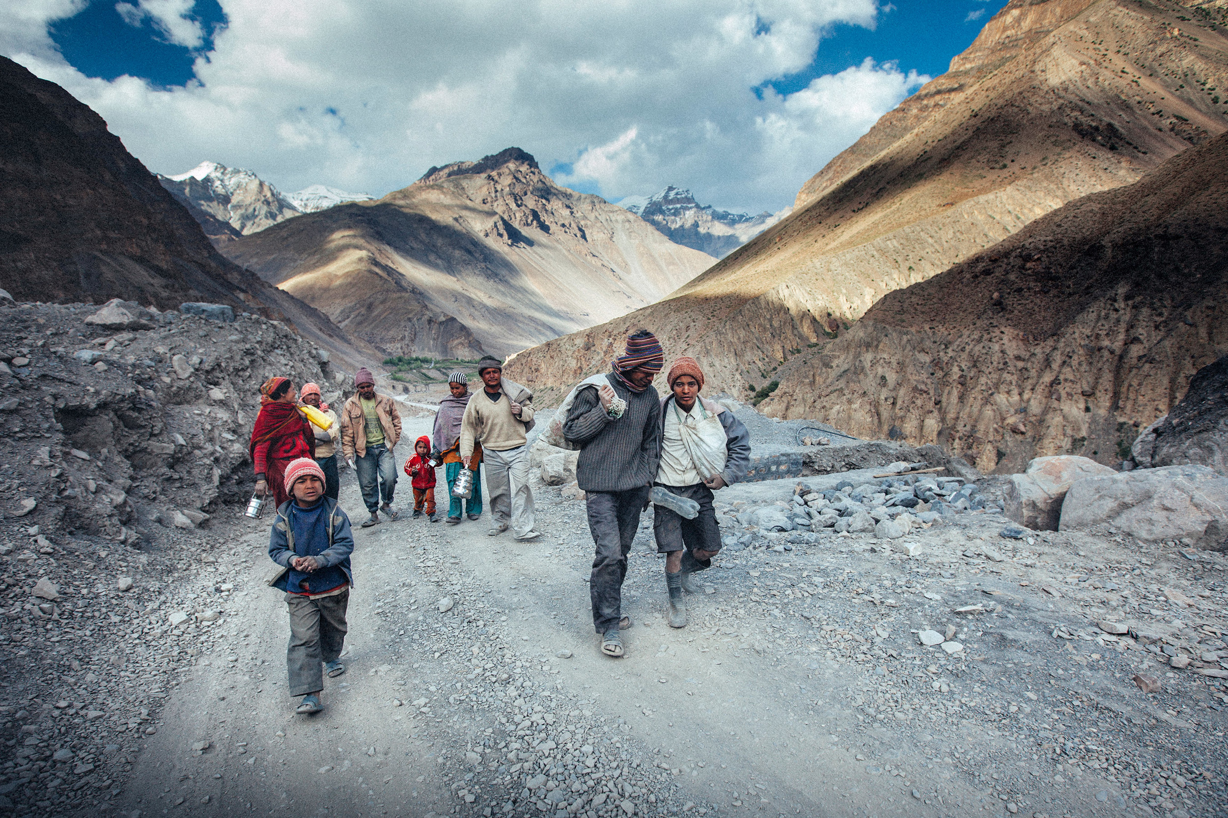 Road workers going home for the night, Indian Himalayas