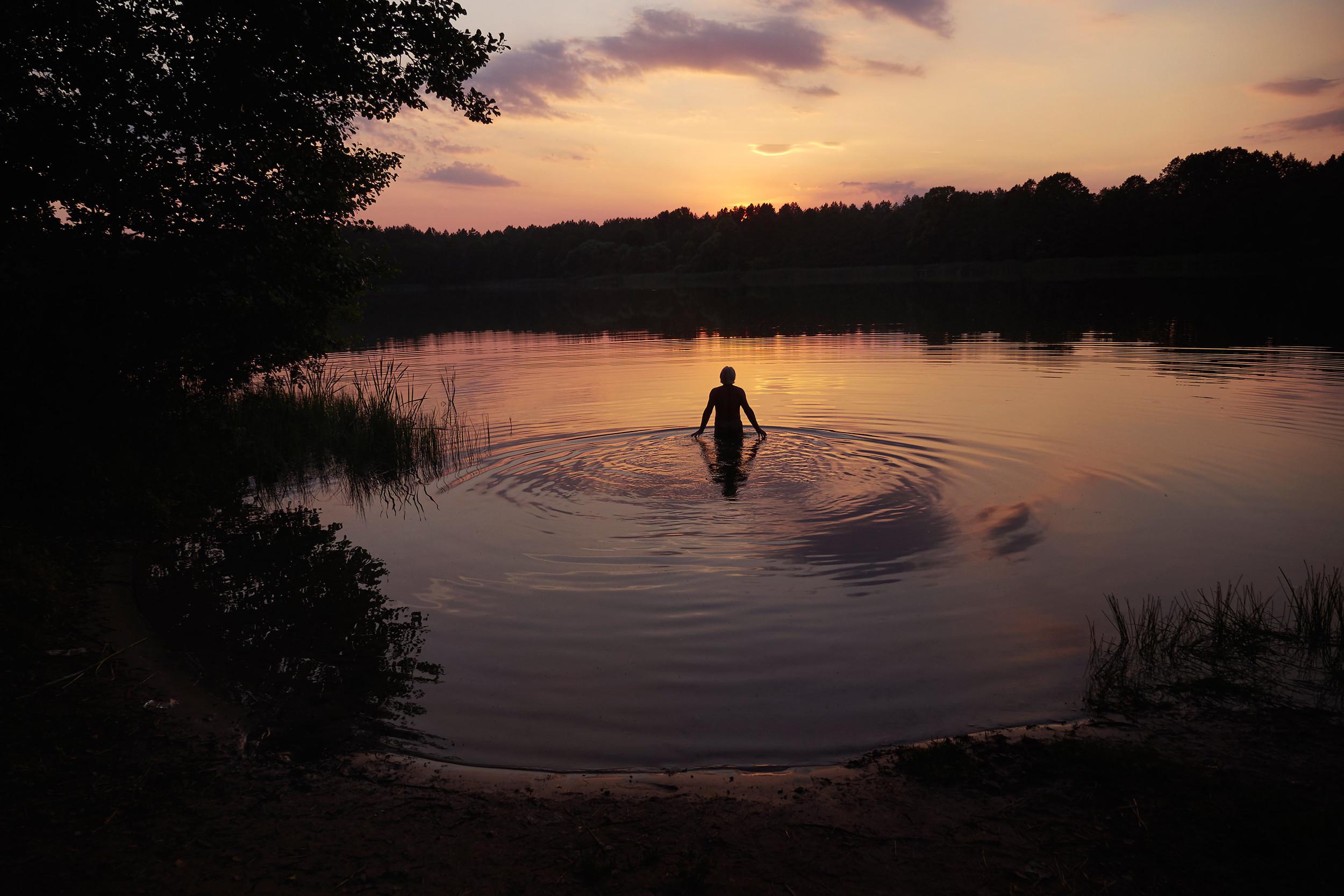 Man walks into a lake in Belarus