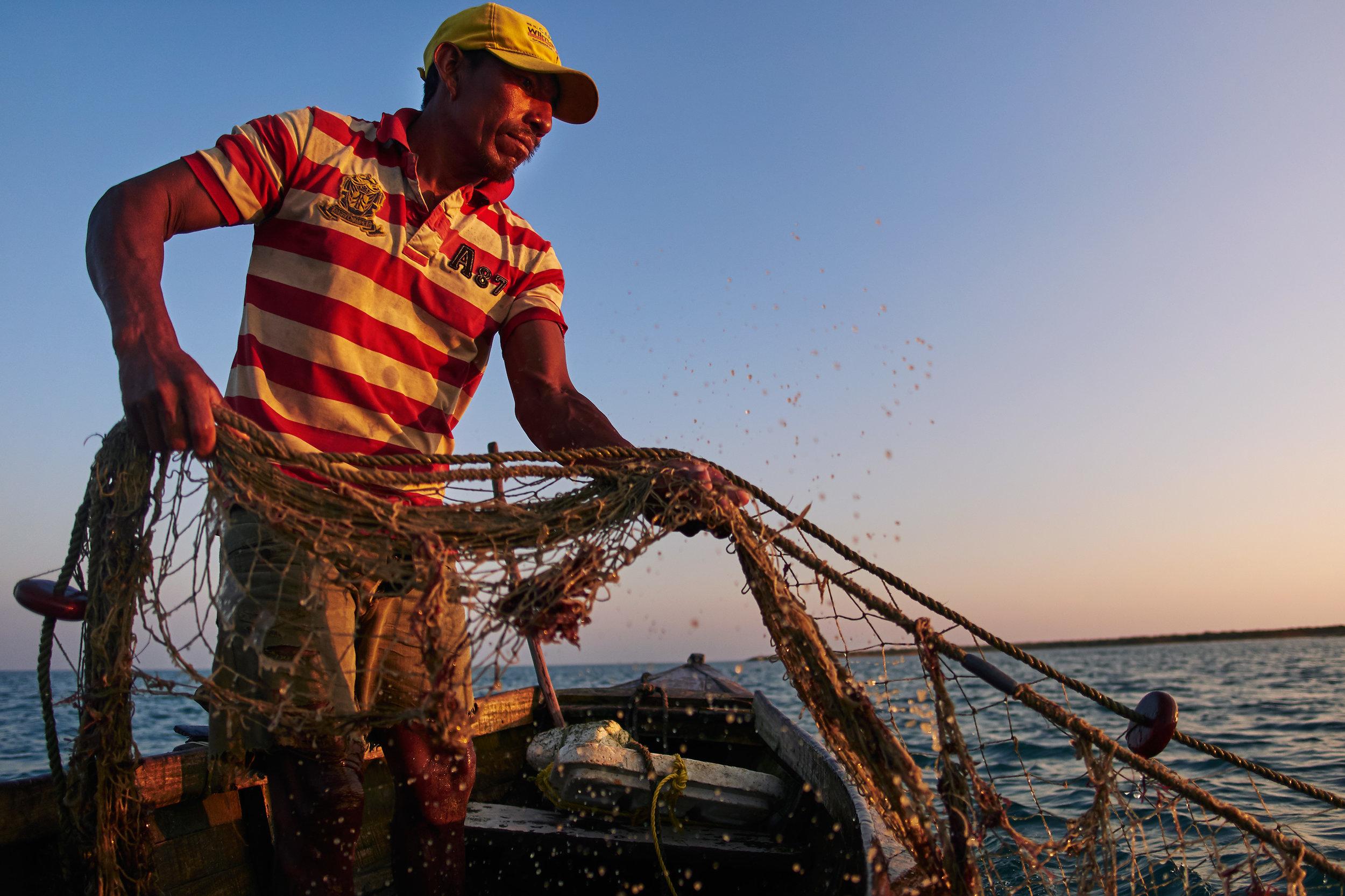 Wayuu fisherman pulling out fish
