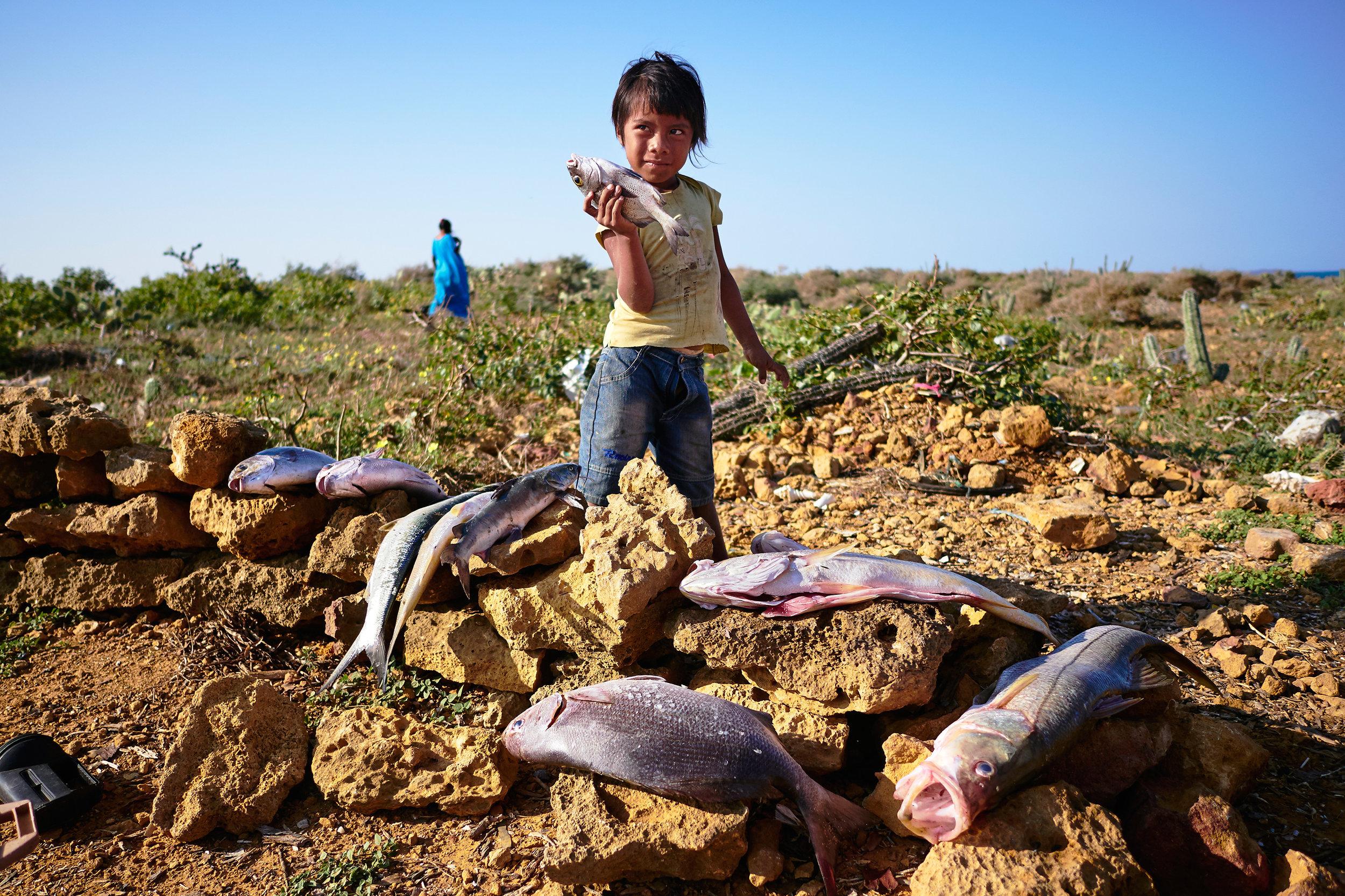 Wayuu girl with fish in La Guajora, Colombia
