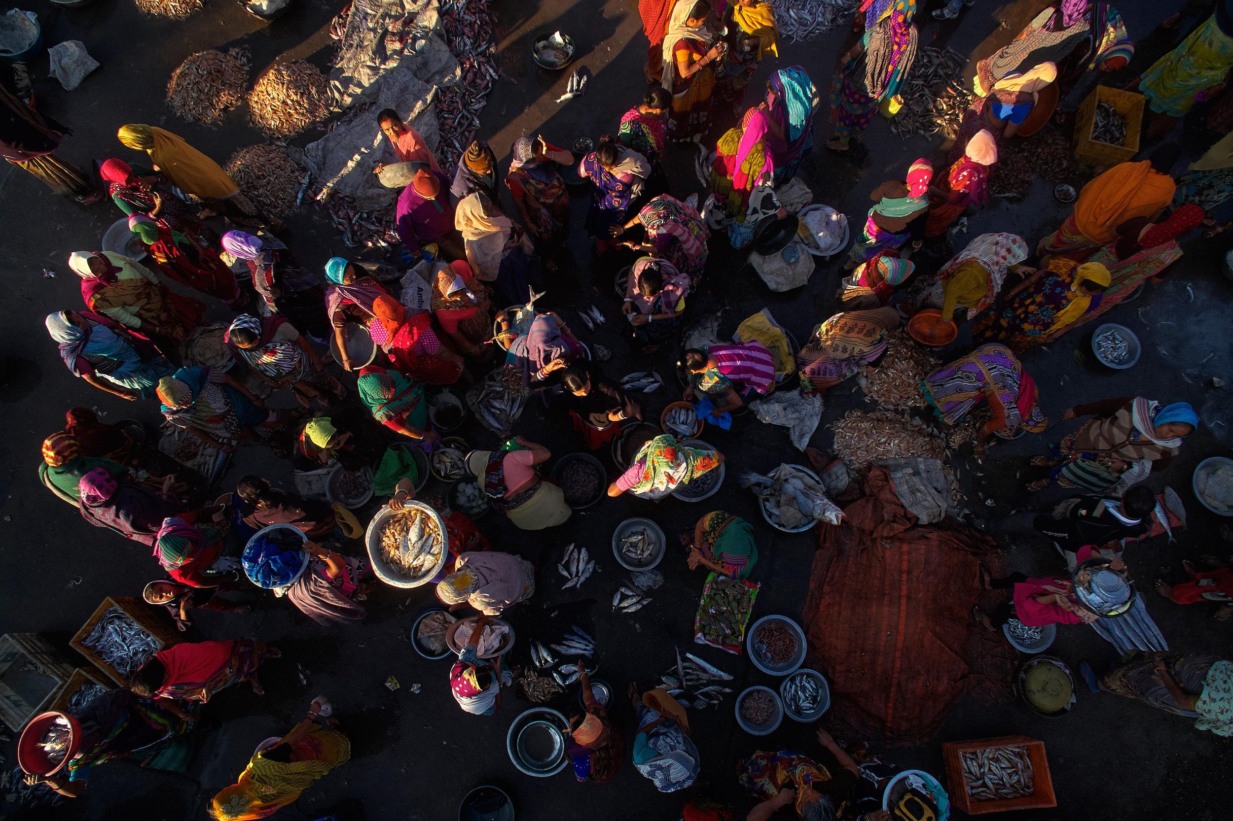 Aerial image of women at a fish market in Diu, Gujarat, India