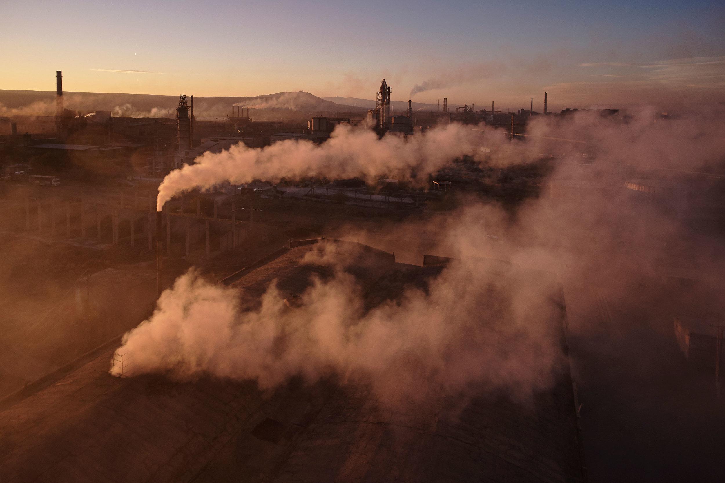 Georgia-Rustavi-factory-sunset