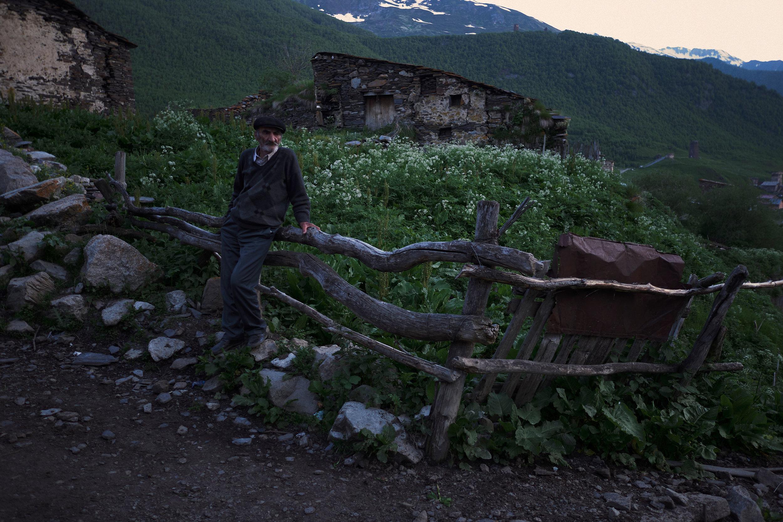 Svaneti-Ushguli-Georgia-man-waiting-for-cows