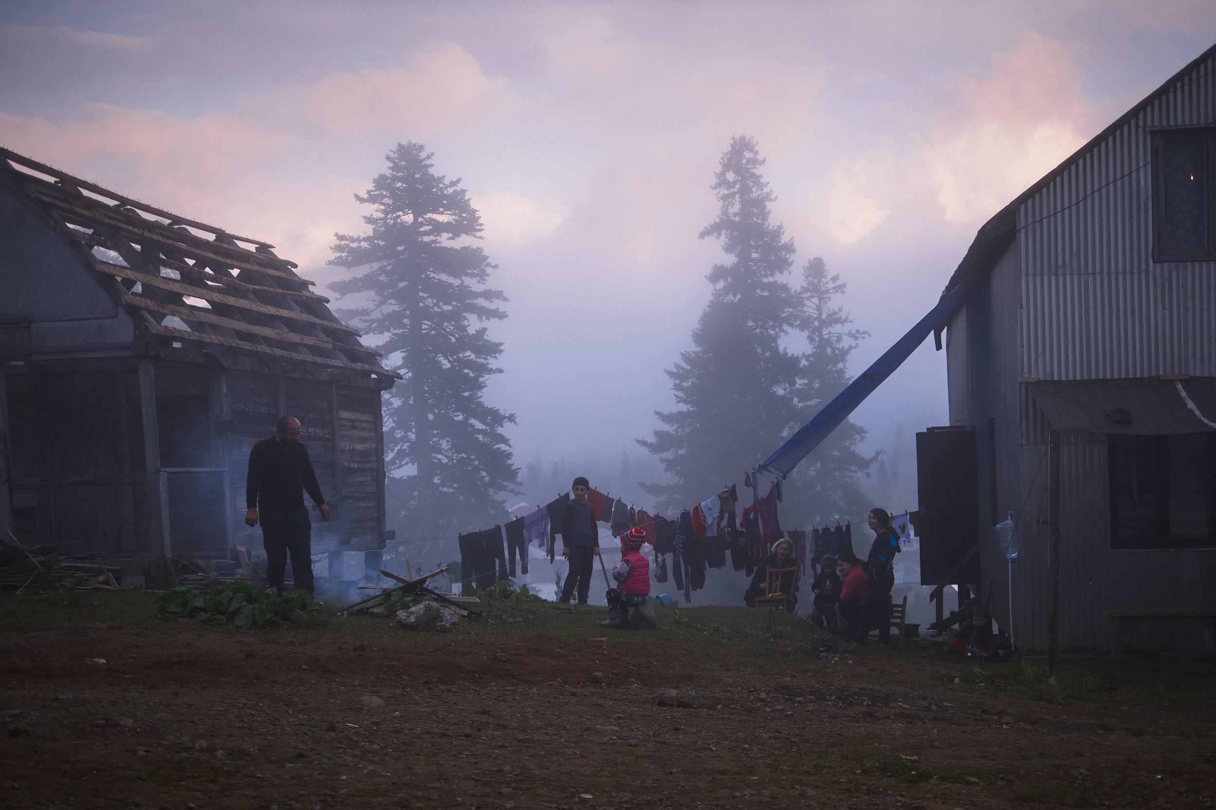 Bakhmaro-Georgia-family-by-fire