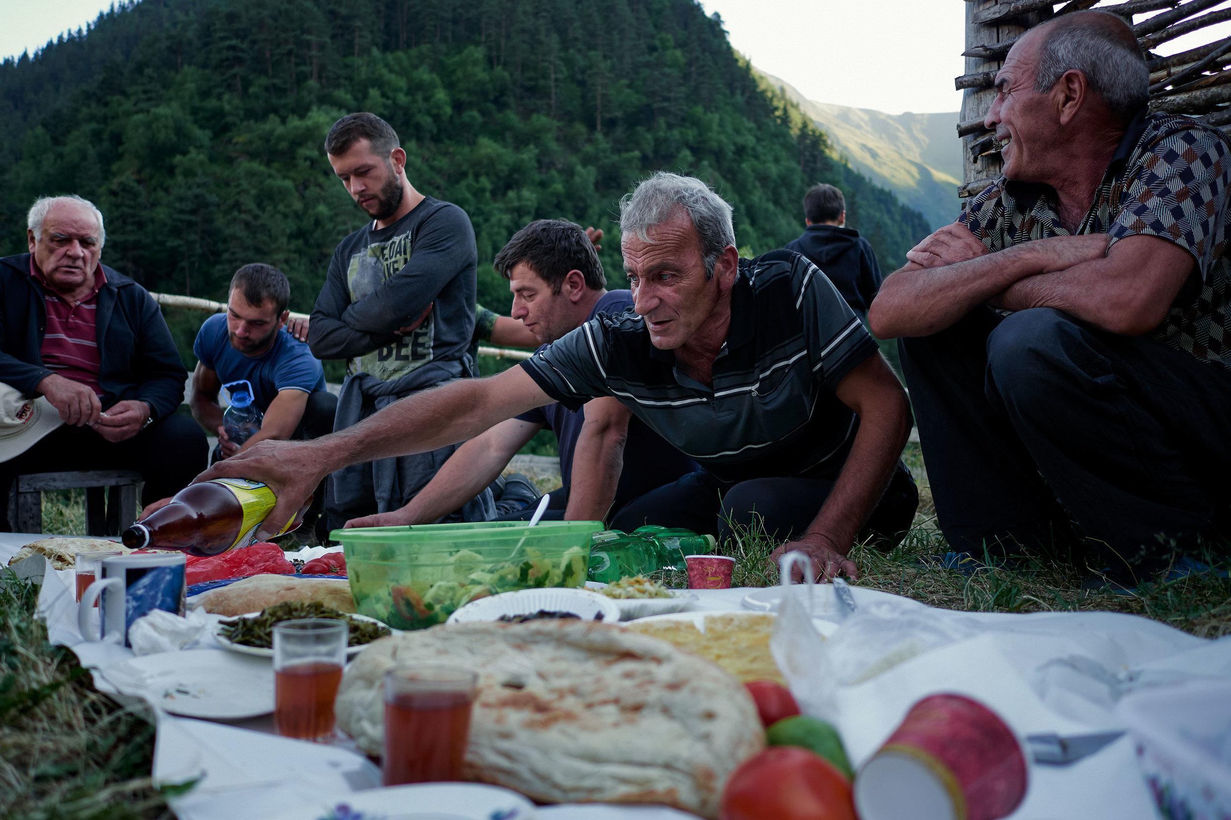 Tusheti-Georgia-celebration-with-food