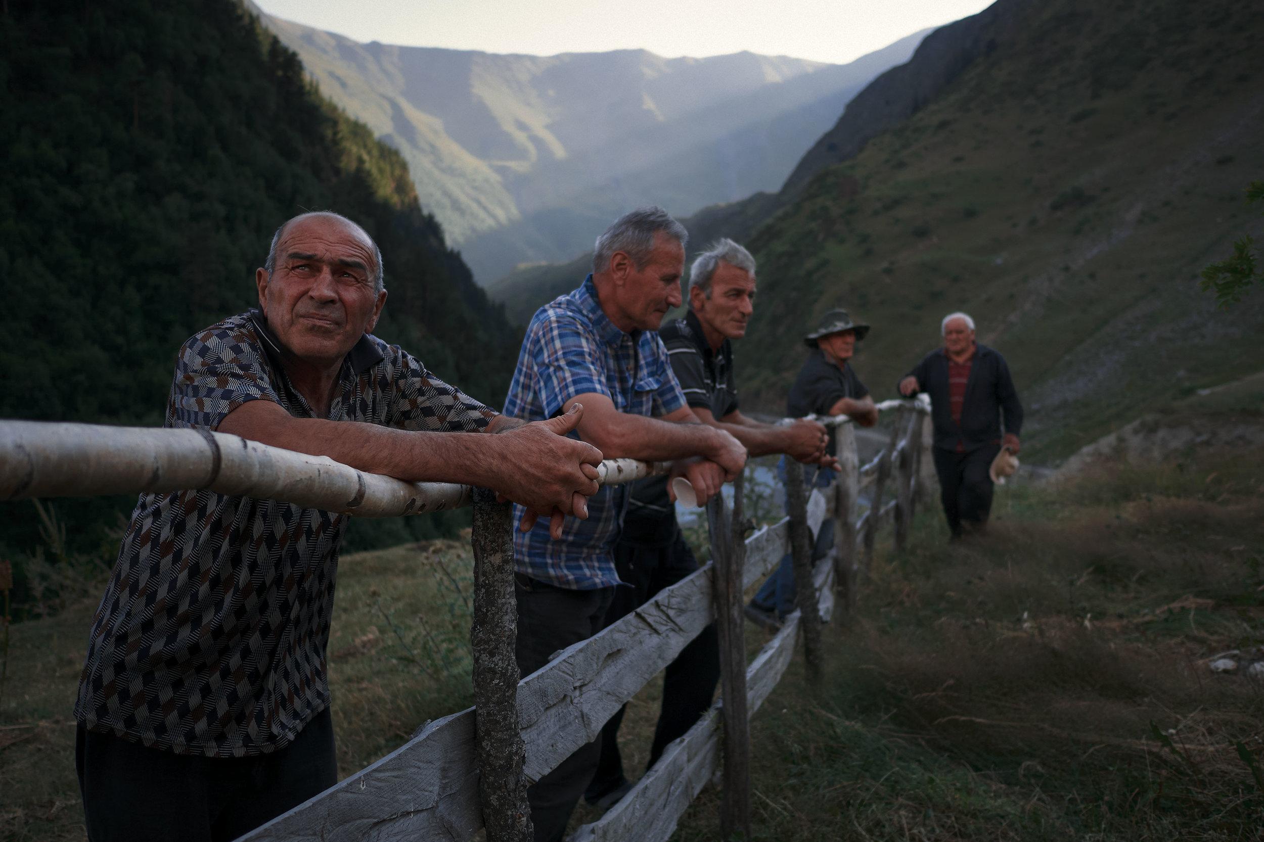 Tusheti-Georgia-village-men-wait-for-celebration