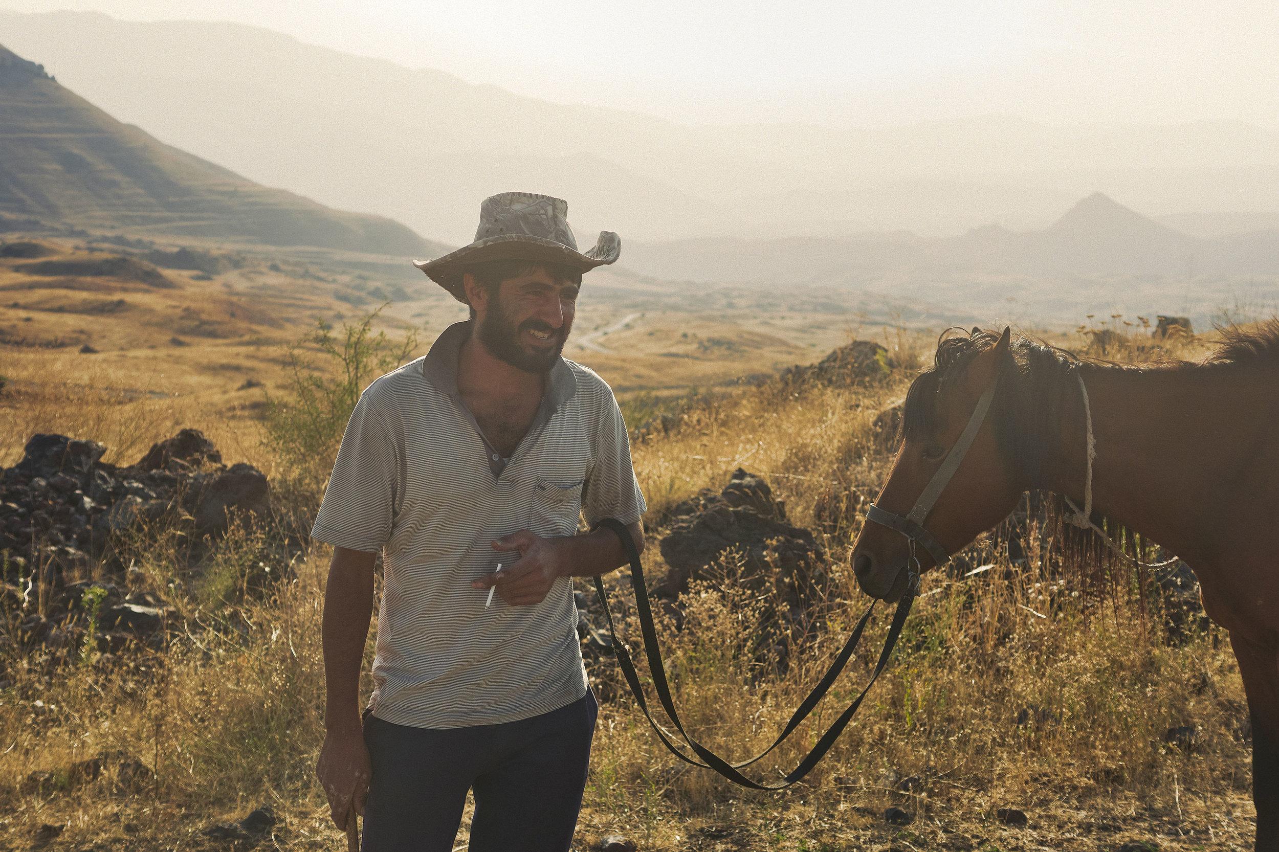 Armenia-Vayots-Zar-man-with-horse