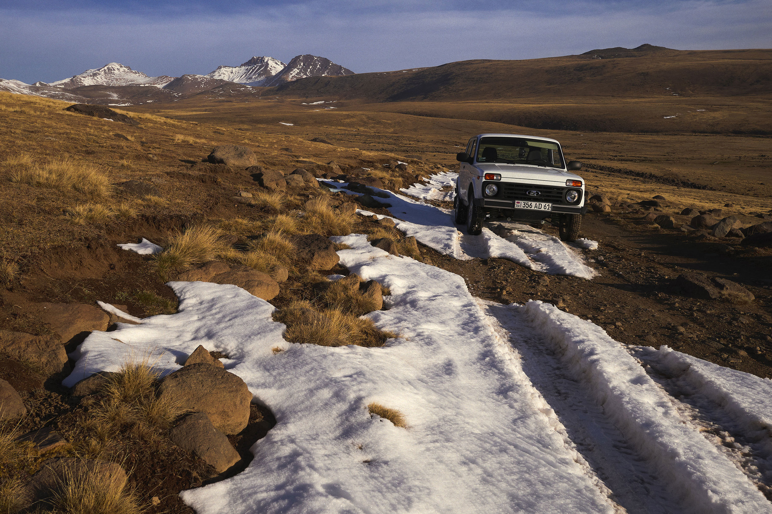 Niva in snow around Mt Aragats