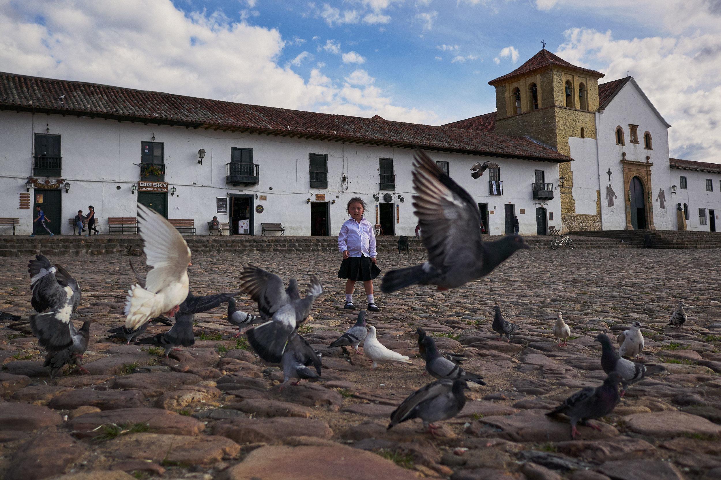 Villa De Leyva - girl, plaza, pigeons