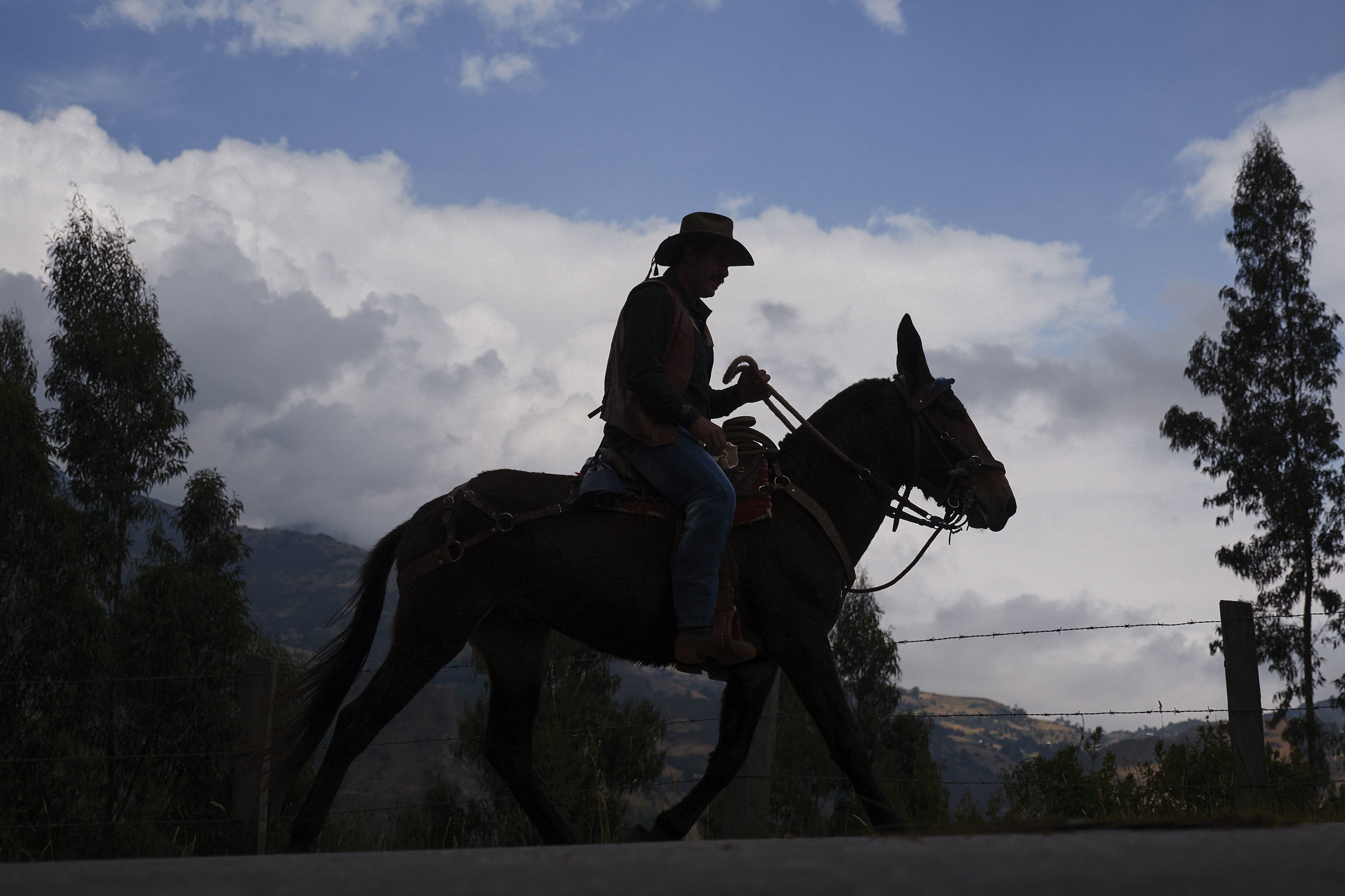Horseman at a horse parade in Mongua Colombia