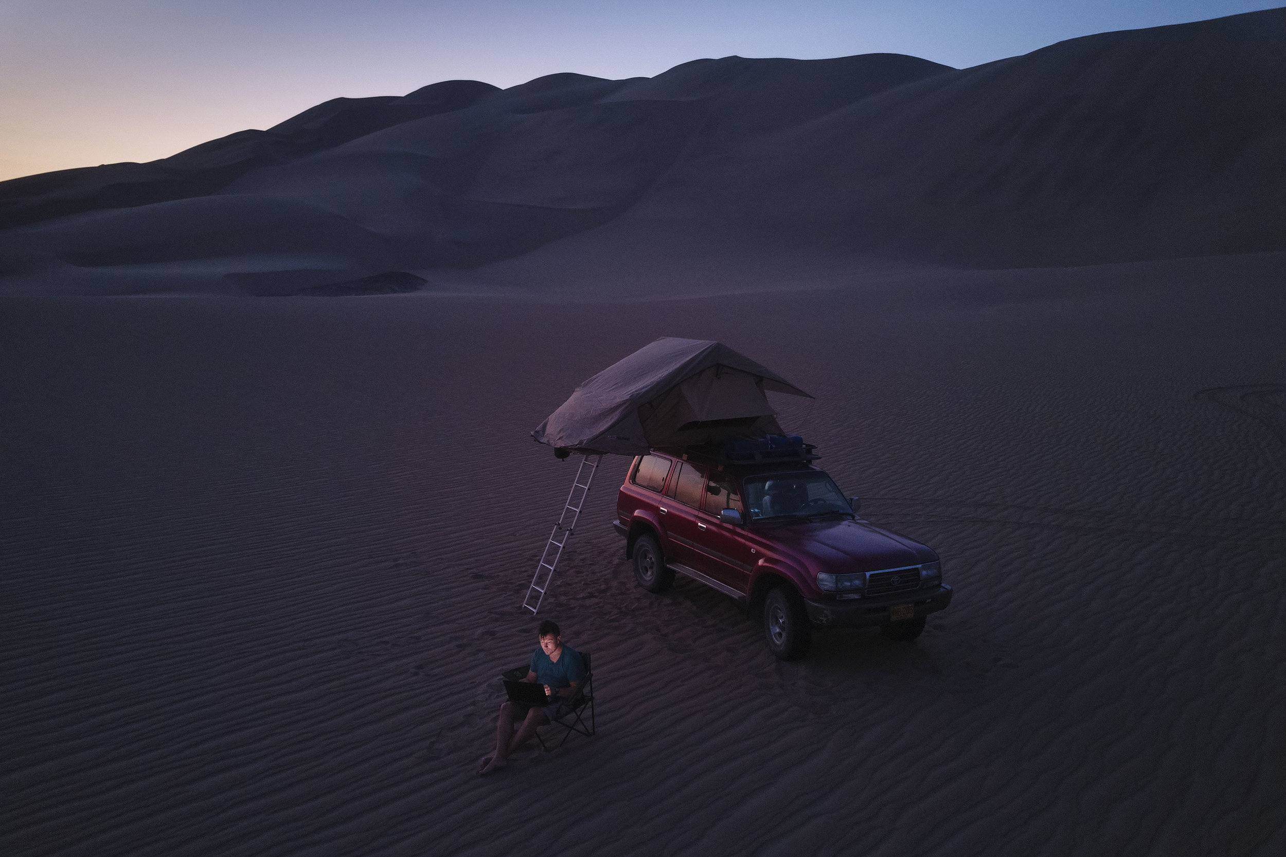 Mitchell camping setup in the desert of Peru