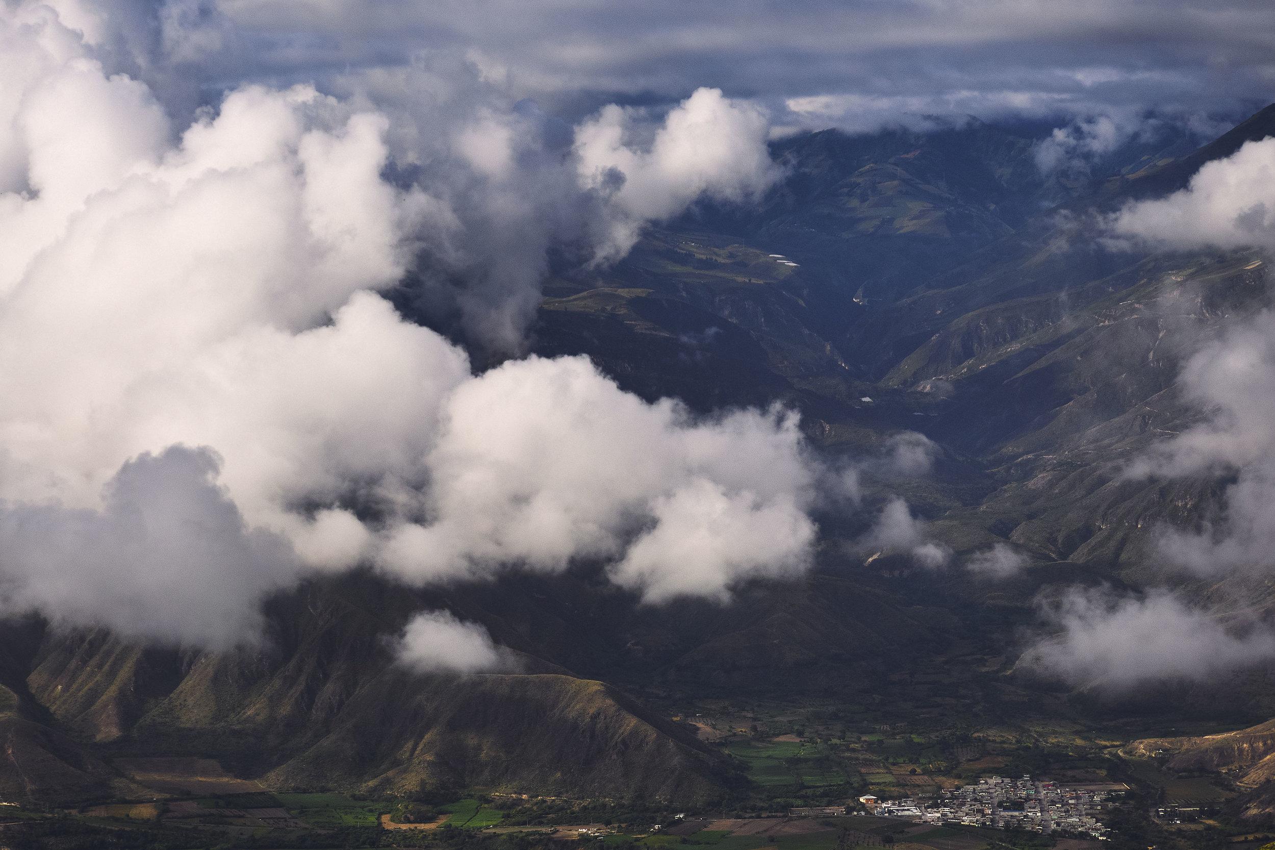 Ecuador landscape shot of a mountain village