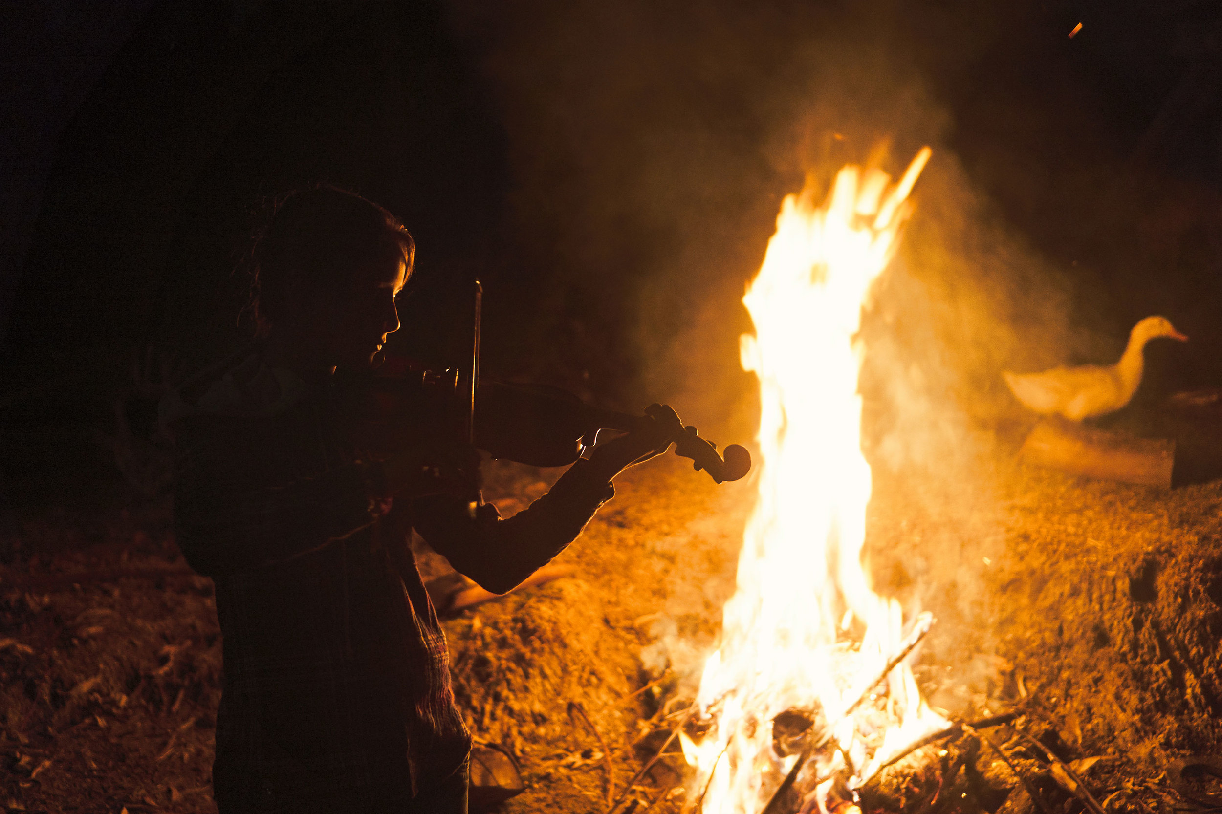 Isabela. playing the violin in front of bonfire