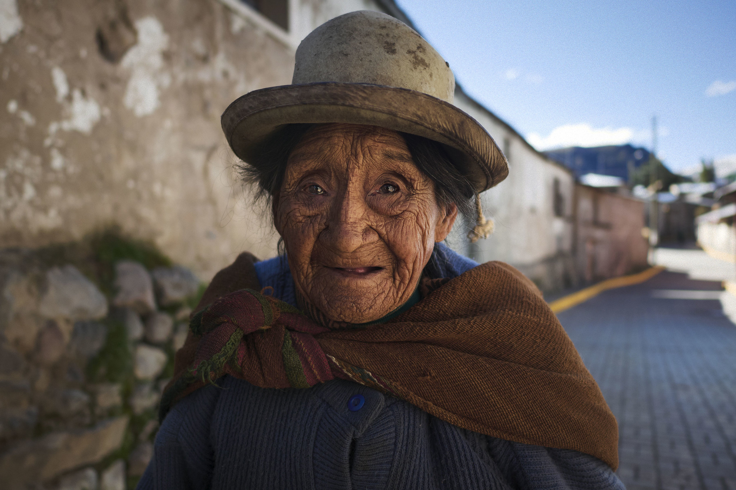 Quechua woman in a town