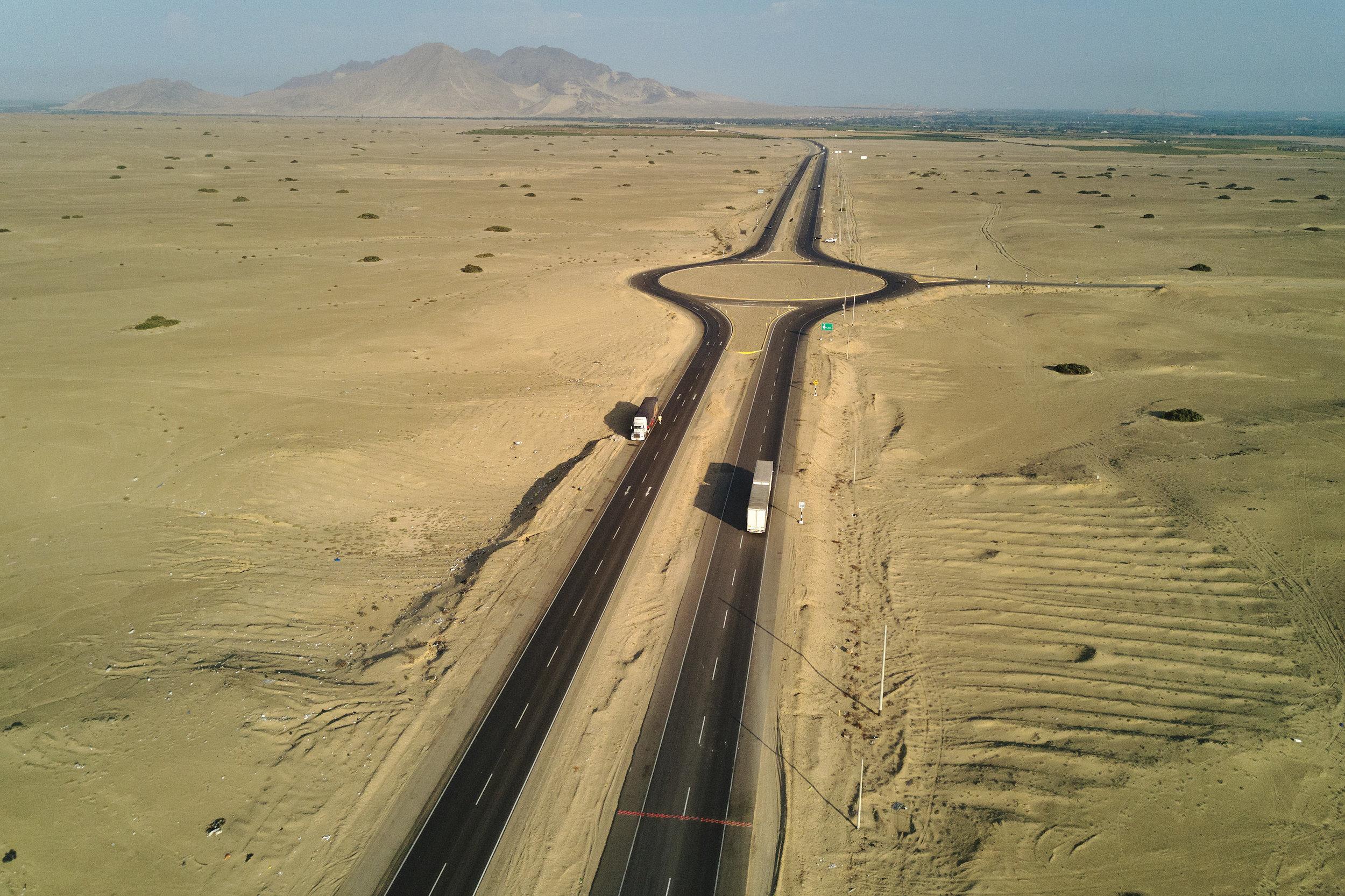 Long desert road Peru