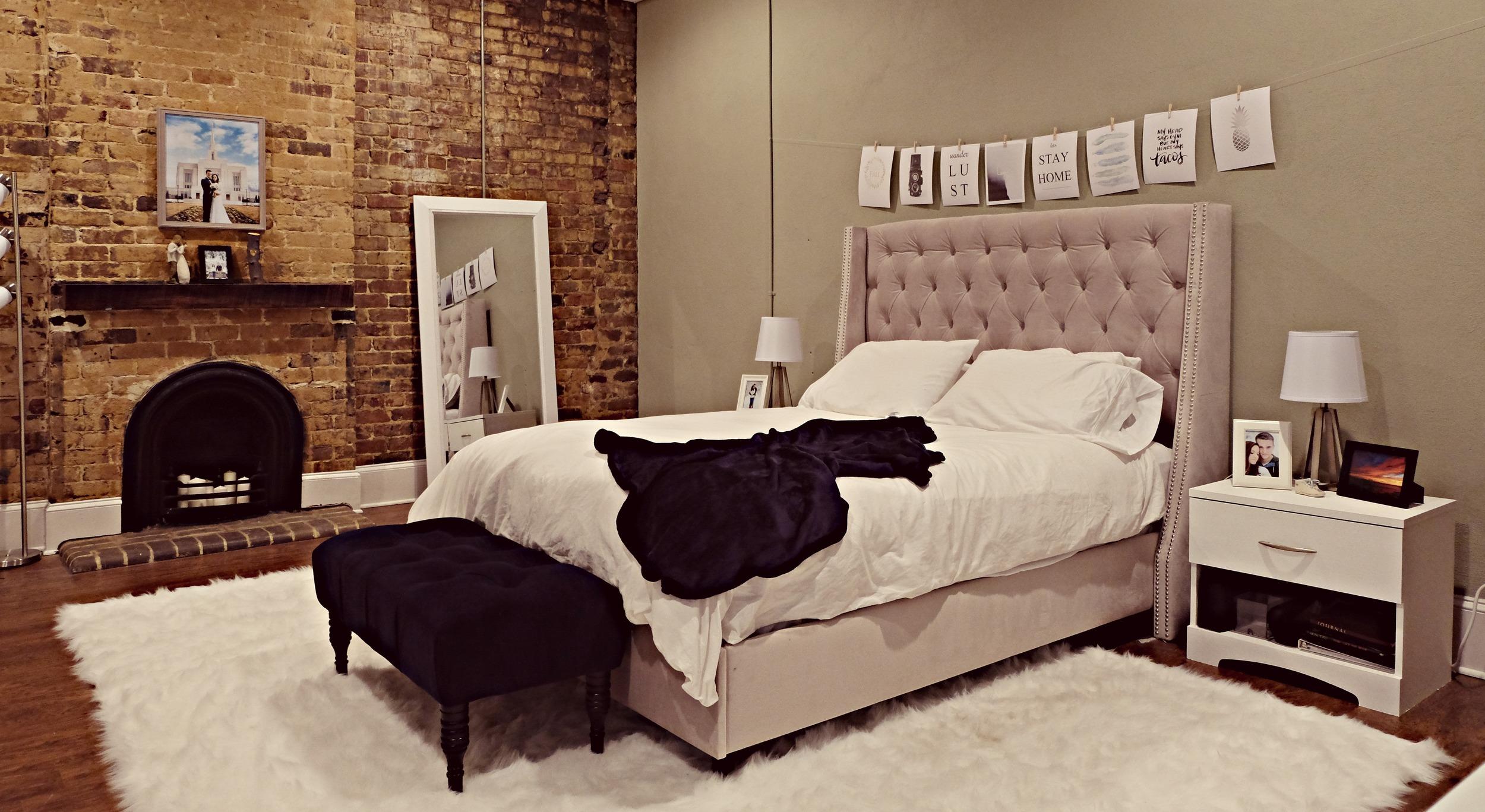 Bed -- Wayfair Bench -- Target Mirror -- HomeGoods
