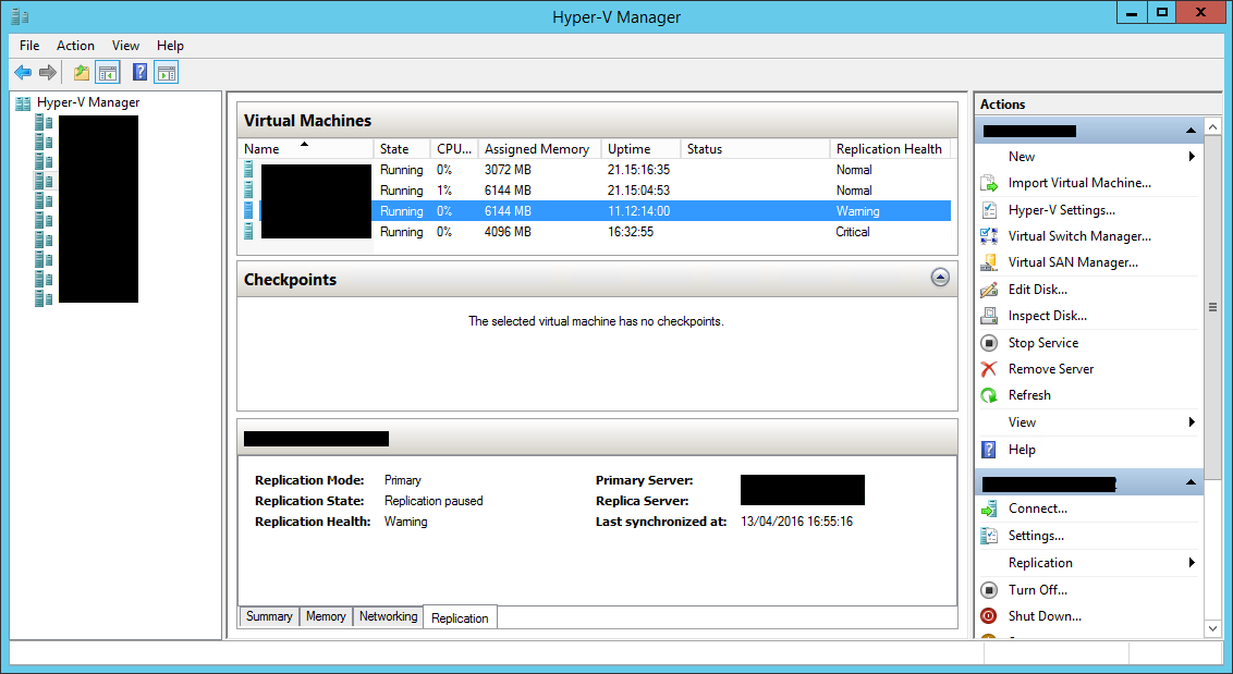 Automated monitoring of Hyper-V virtual machine replication using