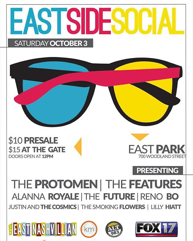 Excited to play this Saturday @eastsidesocial with @theprotomen @alt983 @do615 @eastnashvillian #EastNashville #EastSideSocial #MusicCity #music #events