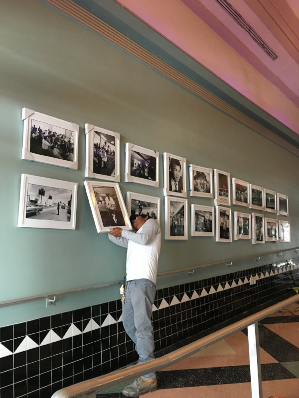 Almost done installing at the Colony Theater, Miami Beach.