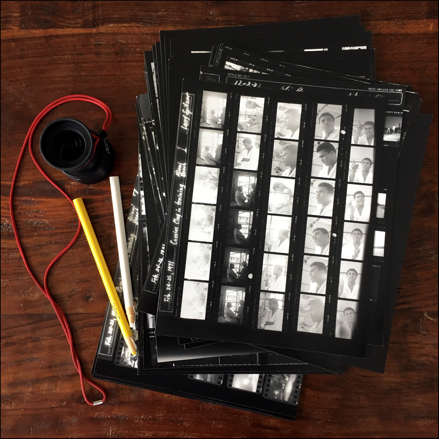 The contact sheets.