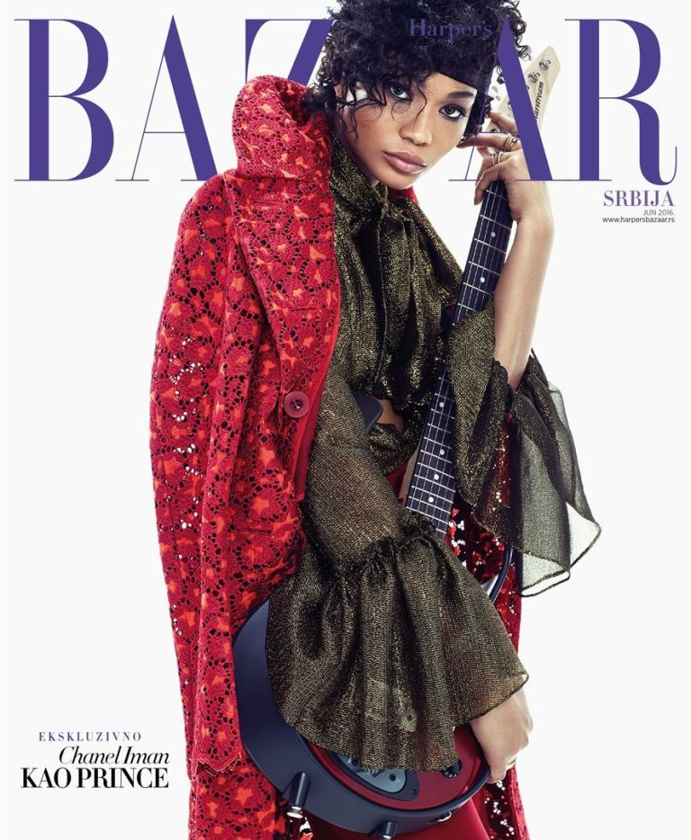 """supermodel chanel iman harper's bazaar serbia prince tribute guitar cover fashion editorial feature kelsey randall black gold embroidered lurex chiffon sheer bell ruffle flounce sleeve button down blouse tie front pussy bow long red sacai coat refinery 29 fashionista  70's style retro daywear sportswear seventies hipster cool stylist made-to-measure womenswear bridal custom bespoke handcrafted sustainable ethical local production manufacturing made in new york city nyc brooklyn bushwick emerging designer ones to watch new talent rising star best of american fashion young designer  Shot by Joshua Jordan and with art direction by Christopher Sollinger, the  Harper's Bazaar Serbia  shoot features Chanel Iman dressed to embody some of Prince's most iconic looks, ranging from  Purple Rain  and  Dirty Mind  to  Plectrumelectrum.  Everyone will recognize Prince's iconic lace gloves and curling locks (courtesy of stylist Kisha C. Jones), but there are a few Easter eggs for hardcore fans of The Purple One, including the set itself, clearly visible in the video teaser. The photos were shot at Electric Lady Studios. (Says Jordan, """"Jimi Hendrix owned and designed the studios — it hasn't changed since the '70s, and Prince loved it there."""")  When it came to hair and makeup, Iman came equipped with her own personal inspiration: her mother. Jordan adds, """"She showed us pictures of her mom in the Afro, and when she put it on, it was as if we moved into the future and flashed back to the past.""""      Makeup artist Yacine Diallo was not only inspired by Prince, but also the strong women in his life: """"The story was also a tribute to all the talented, beautiful, and sexy women like Vanity 6, Sheila E., Wendy, and Lisa he had on stage with him throughout his career. Chanel Iman was perfect to interpret this sensuality and freedom that always inspired me while growing up watching Prince videos and listening to his music."""""""
