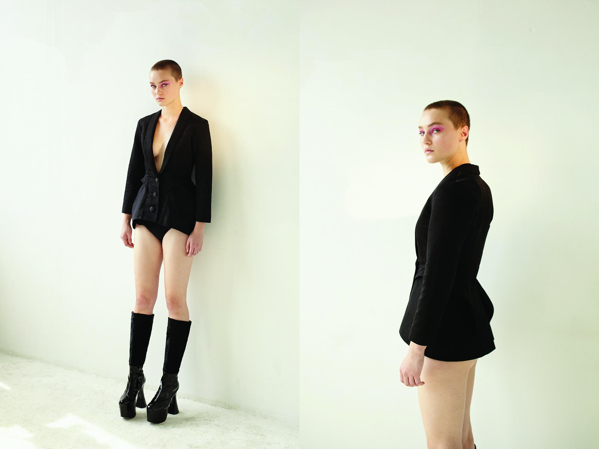 kelsey randall black silk faille jacket bar hip peplum