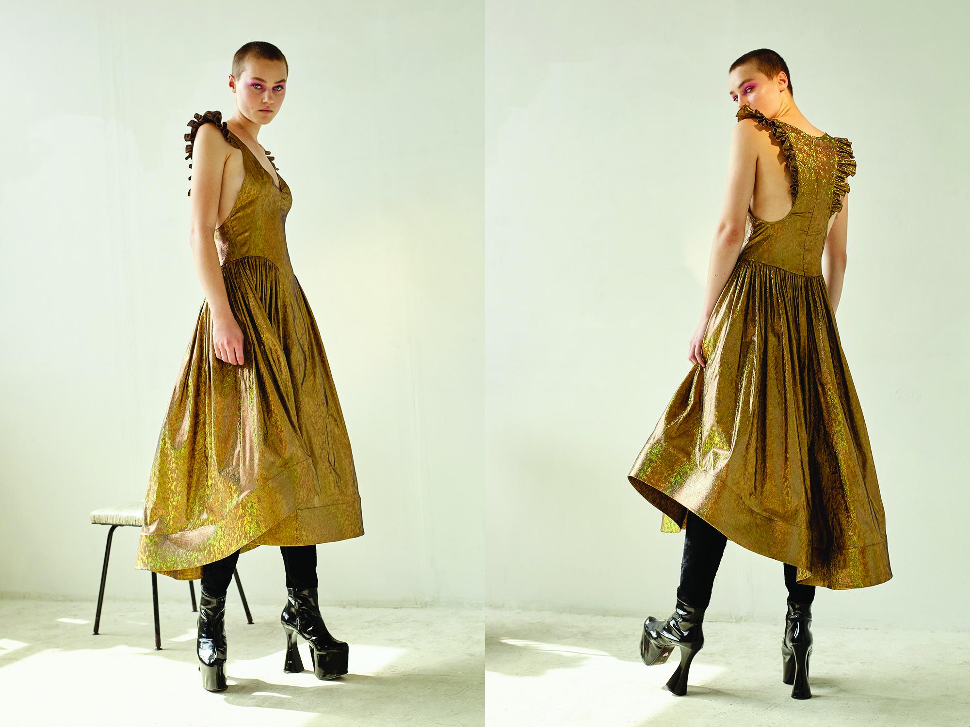 kelsey randall gold hologram angel gown ruffle shoulder patent leather vintage platform boots