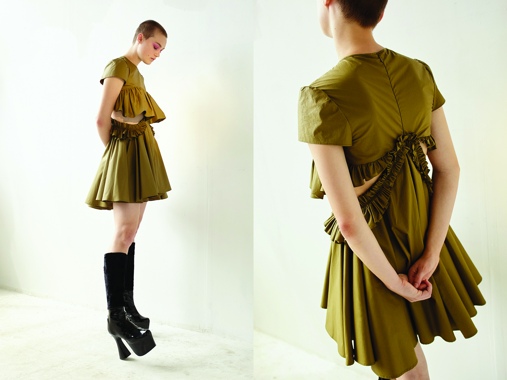 kelsey randall olive waxed cotton ruffle cut out side circle skirt cap short sleeve dress black patent platform boots