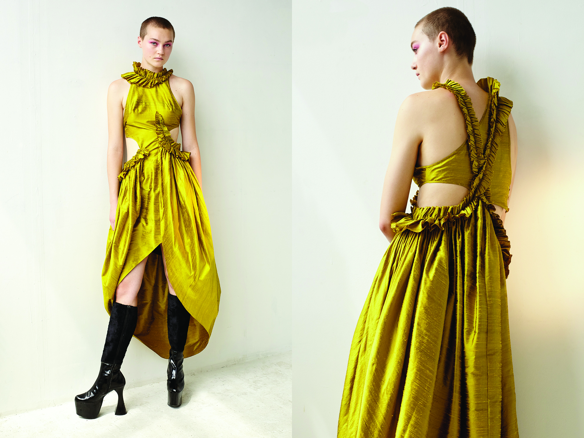 kelsey randall gold citrine raw silk shantung asymmetrical ruffle side cut out tulip high-low hem gown long dress black patent leather platform vintage boots