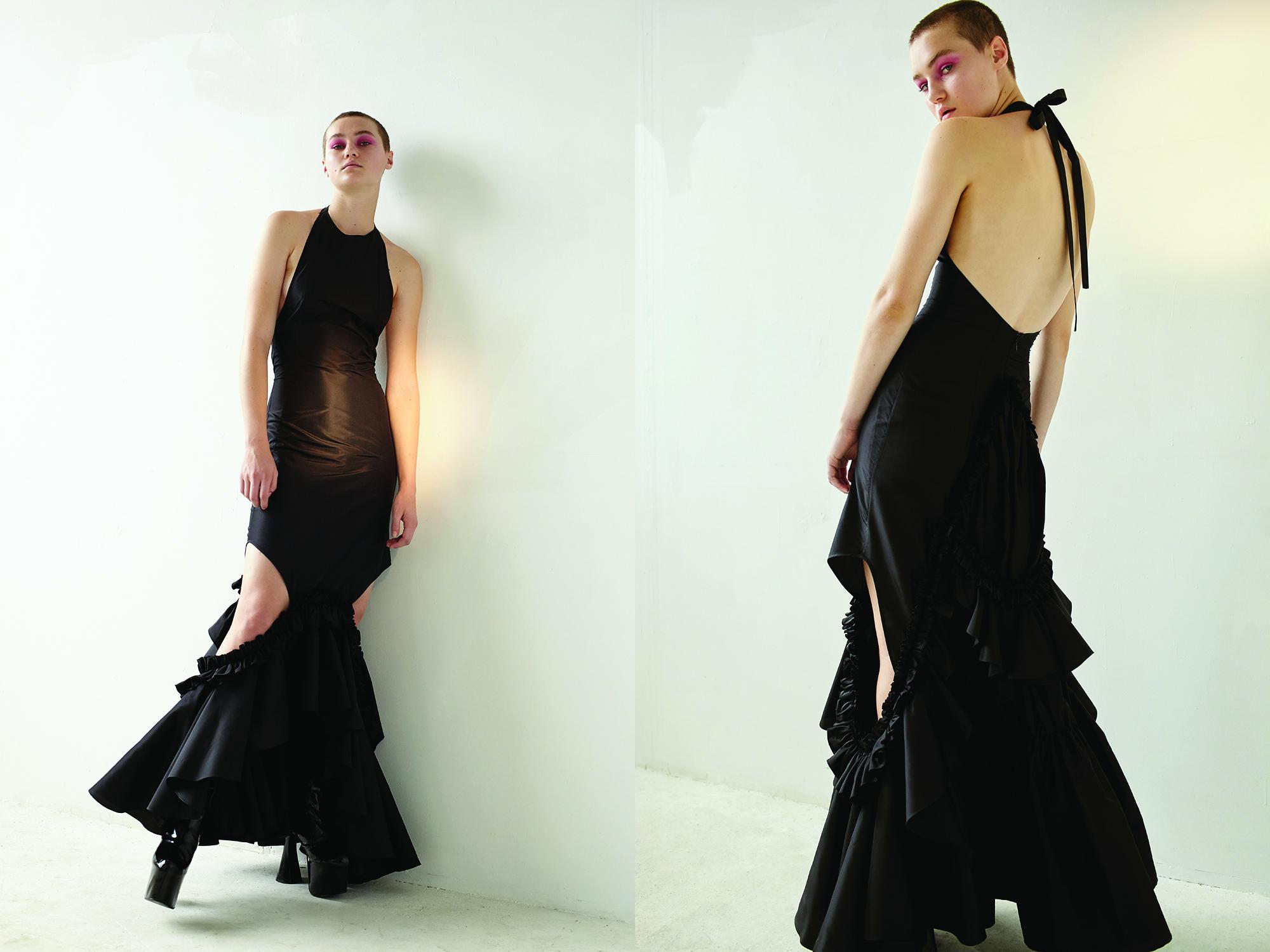 kelsey randall black silk taffeta ruffle side cut out gown halter back high neck flounces drama red carpet