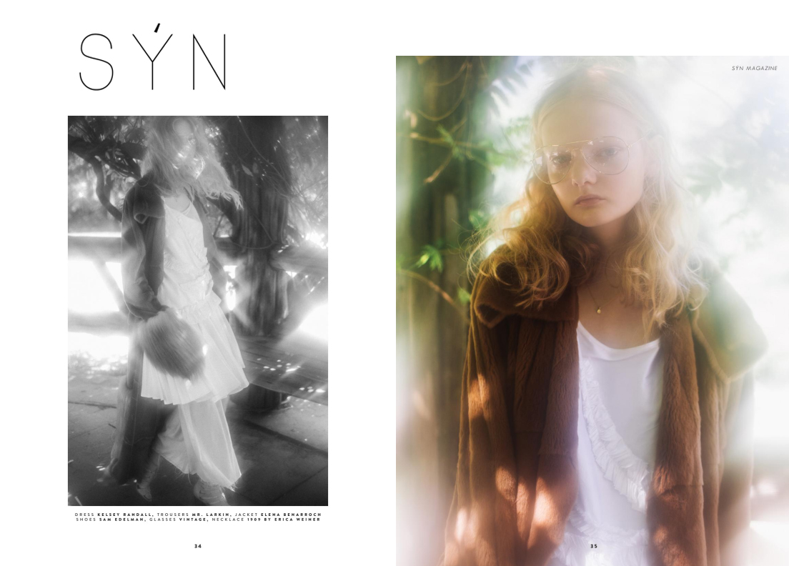 syn magazine fashion editorial feature issue kelsey randall white silk shantung ruffle dress circle skirt flounces bridesmaid fur coat jacket oversized big glasses curly hair 70's lens flair flare stippled light film photography disco made-to-measure womenswear bridal custom bespoke handcrafted sustainable ethical local production manufacturing made in new york city nyc brooklyn bushwick emerging designer ones to watch new talent rising star best of american fashion young designer  photographer jack maffucci stylist sam weir makeup mia varrone hair junya model unia model management