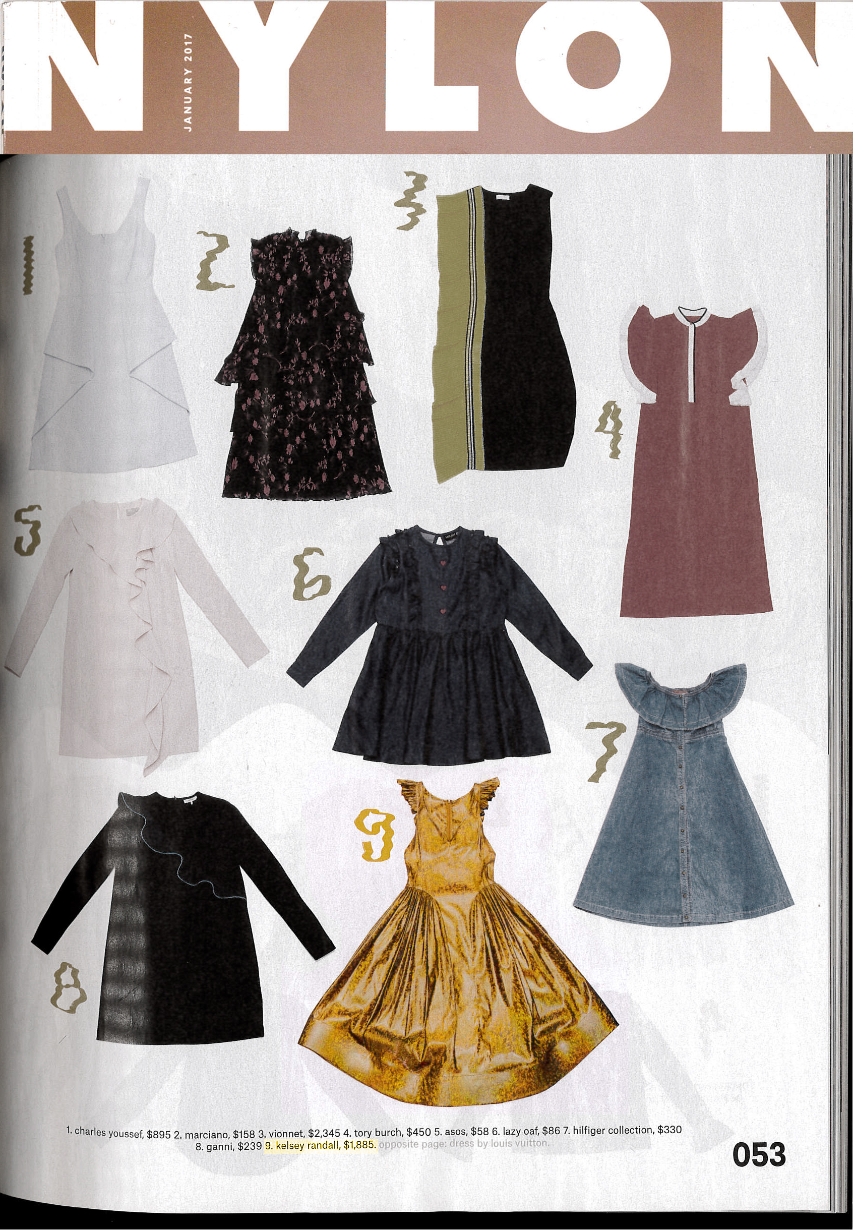 nylon magazine print issue shopping market pages what to buy wear kelsey randall gold holographic horsehair angel dress ruffles full skirt made-to-measure womenswear bridal custom bespoke handcrafted sustainable ethical local production manufacturing made in new york city nyc brooklyn bushwick emerging designer ones to watch new talent rising star best of american fashion young designer