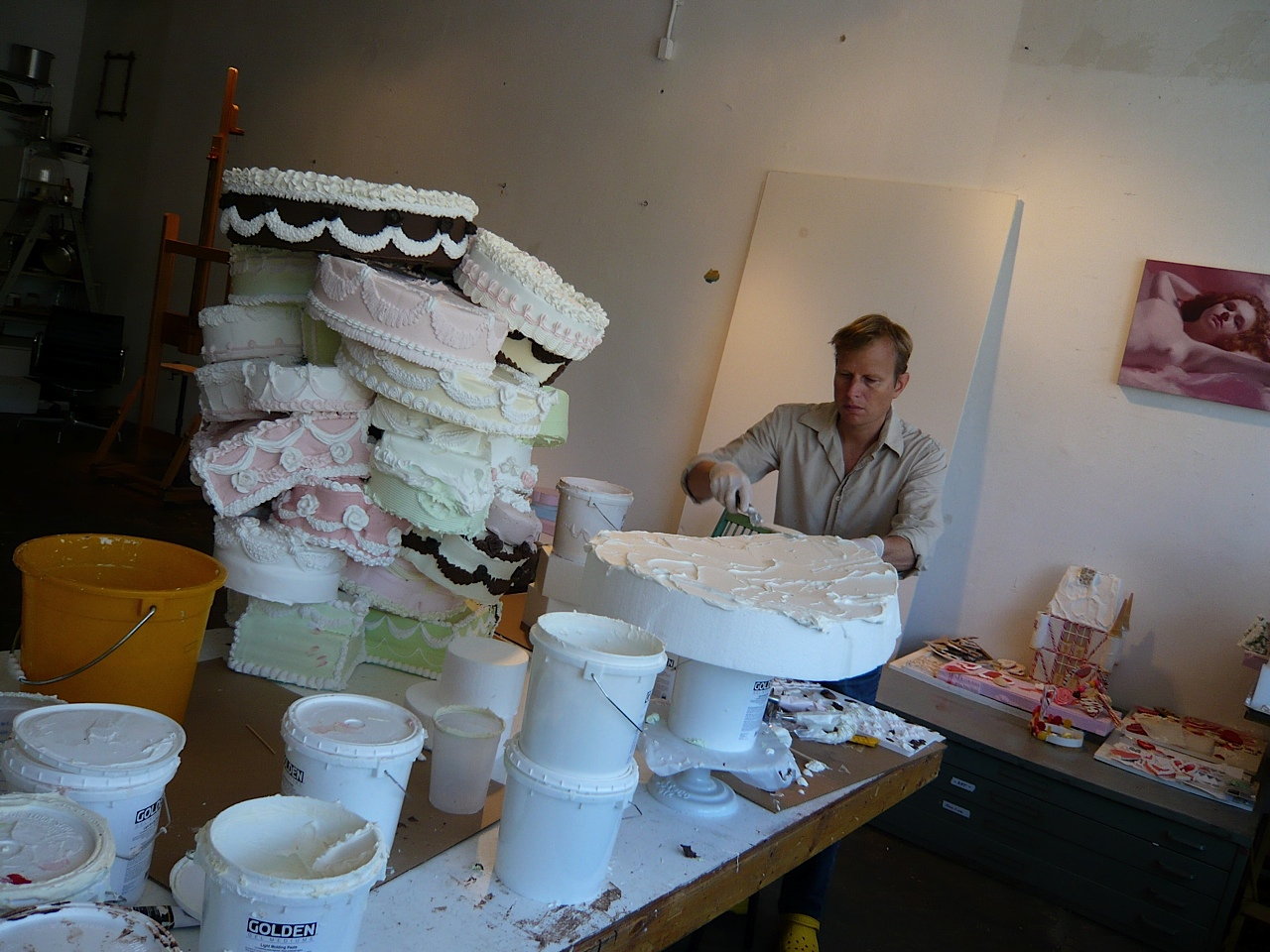 the artist Will Cotton in his studio circa 2012