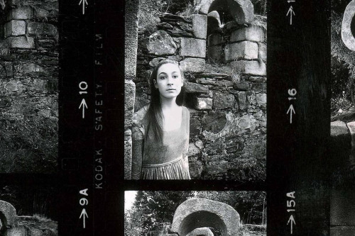 Anjelica Huston on the set of   Sinful Davey  , Ireland, 1967