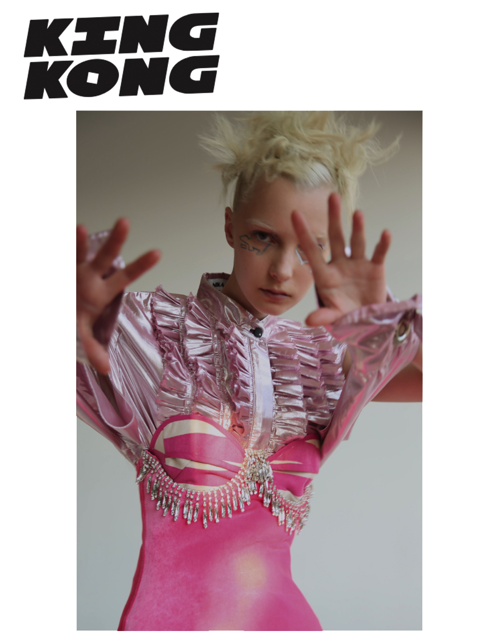 King Kong Magazine fashion editorial feature Kelsey Randall pink striped canvas bustier bra top leotard crystals metallics hot pink avant garde made-to-measure custom bespoke luxury womenswear sustainable ethical diverse unique special made in New York City NYC Brooklyn Bushwick handcrafted  photographs   FRANCO SCHICKE   styling   HERIN CHOI   hair   SONNY MOLINA   make up   YUUI VISION  using M.A.C cosmetics  model   IRINA LISS  | MUSE NYC