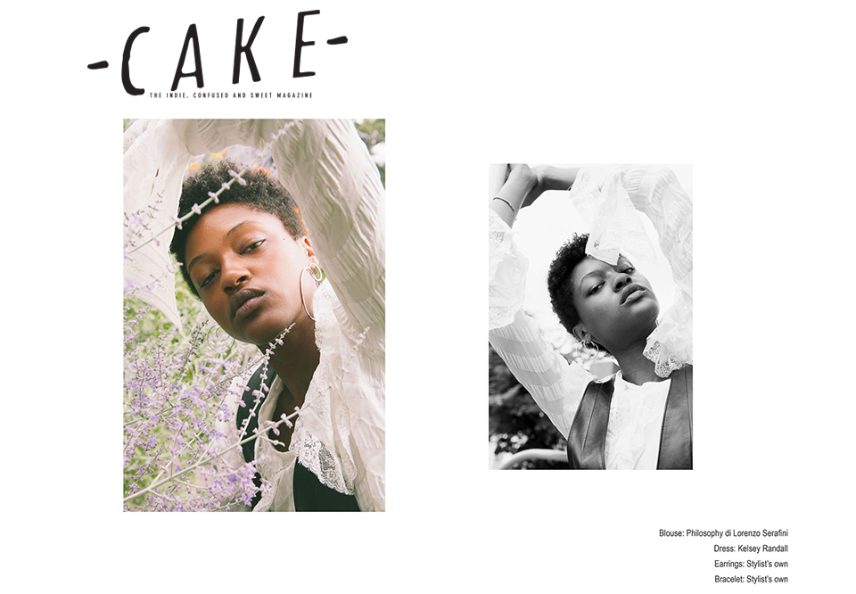 Cake Magazine fashion editorial feature Kelsey Randall black leather jumper dress sustainable ethical diverse unique fashion design flowers meadow custom made-to-measure luxury bespoke made in New York City NYC Brooklyn Bushwick handcrafted Katie Borrazzo Christine Nicholson Dominique Brannon Lady Savage supreme model management