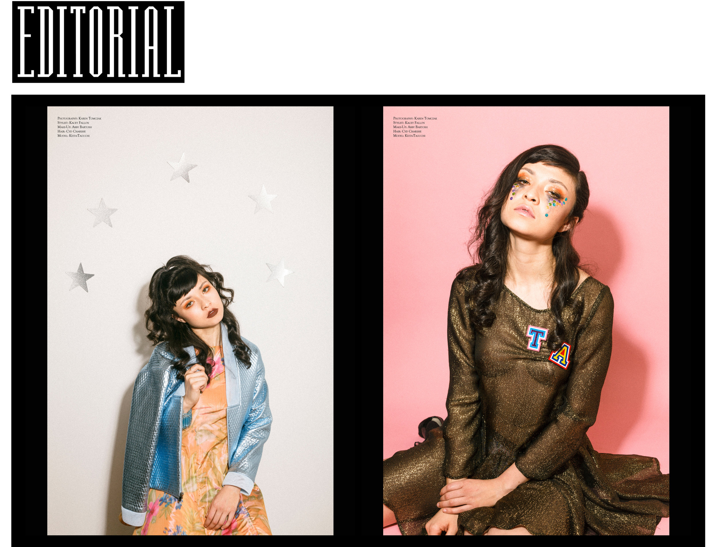 Editorial Magazine smells like teen spirit team warp woven floral lamé skater dress metallic baby blue jacket leather faux black gold lurex embroidered chiffon godet ruffle swing tie dress patches letterman cheerleader style homecoming queen seventeen cosmo girl model emerging designer ones to watch rising talent made-to-measure bespoke luxury custom sustainable ethical made in New York City local NYC Brooklyn Bushwick handcrafted beauty stickers