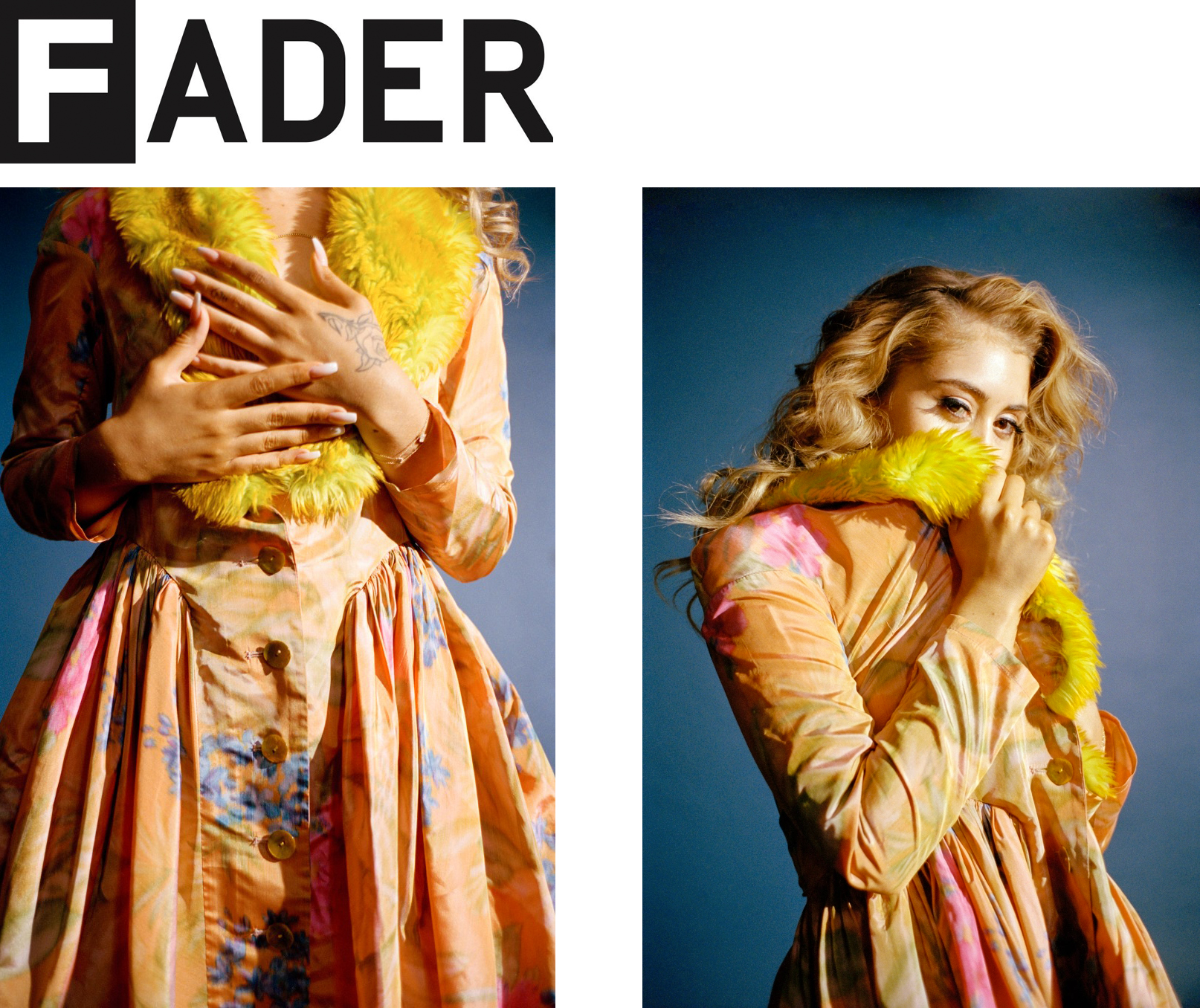 The Fader magazine interview editorial Kali Uchis cover story warp woven floral silk taffeta green yellow faux fur coat dress made-to-measure luxury womenswear made in New York City NYC Brooklyn Bushwick sustainable ethical local production diversity emerging designer new talent rising stars  Fashion by  Mar Peidro   Photographer  Tyler Mitchell