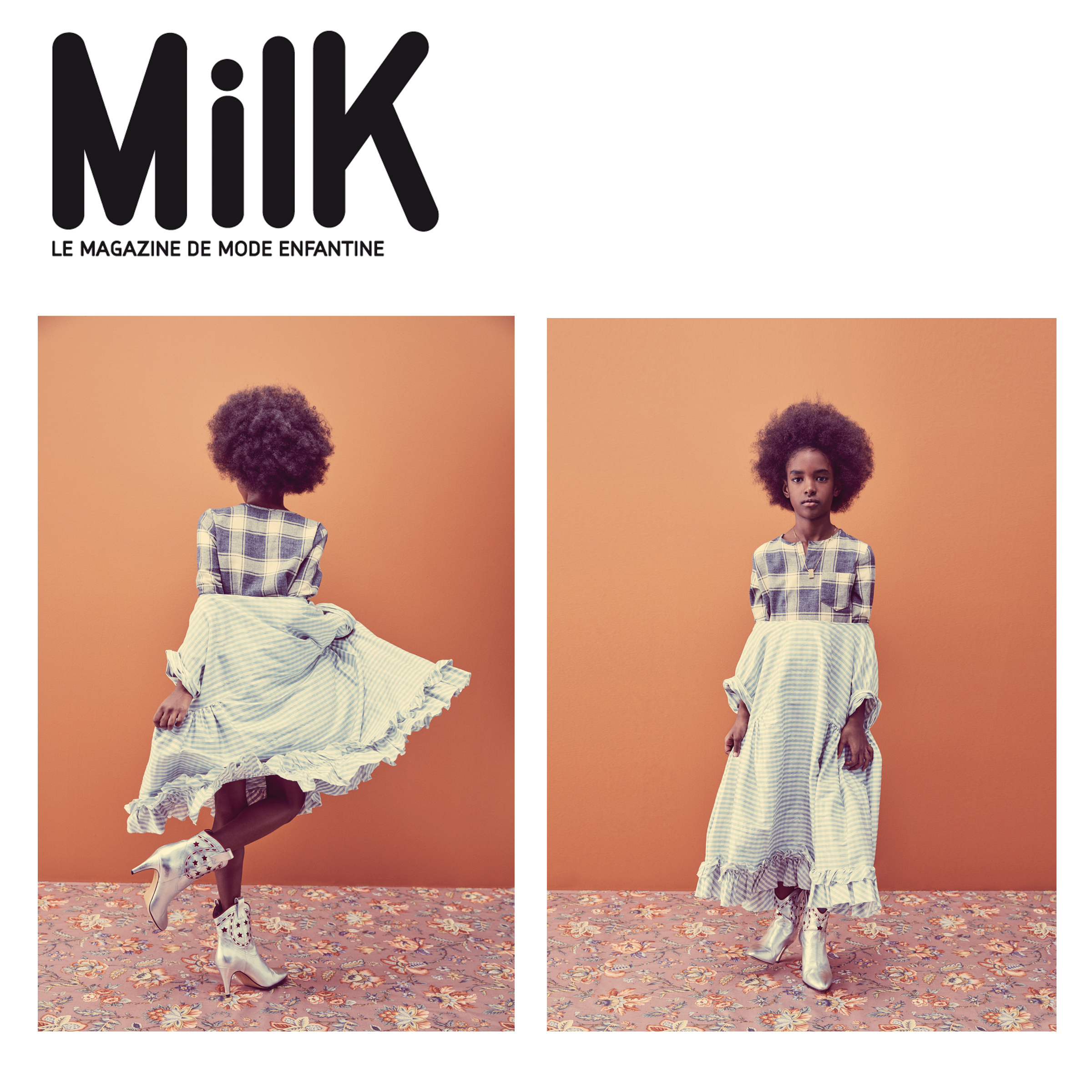 Kelsey Randall Milk Magazine Child kidswear specialty kids clothing bespoke custom babydoll dress gingham raw silk shantung short sleeve ruffle hem swing oversized natural hair afro cute silver cowboy boots floral carpet rug plaid shirt bright orange pumpkin made-to-measure luxury unique special emerging designer rising talent star ones to watch ethical sustainable handcrafted photographer amanda m pratt styling shelley m young art director kt smail