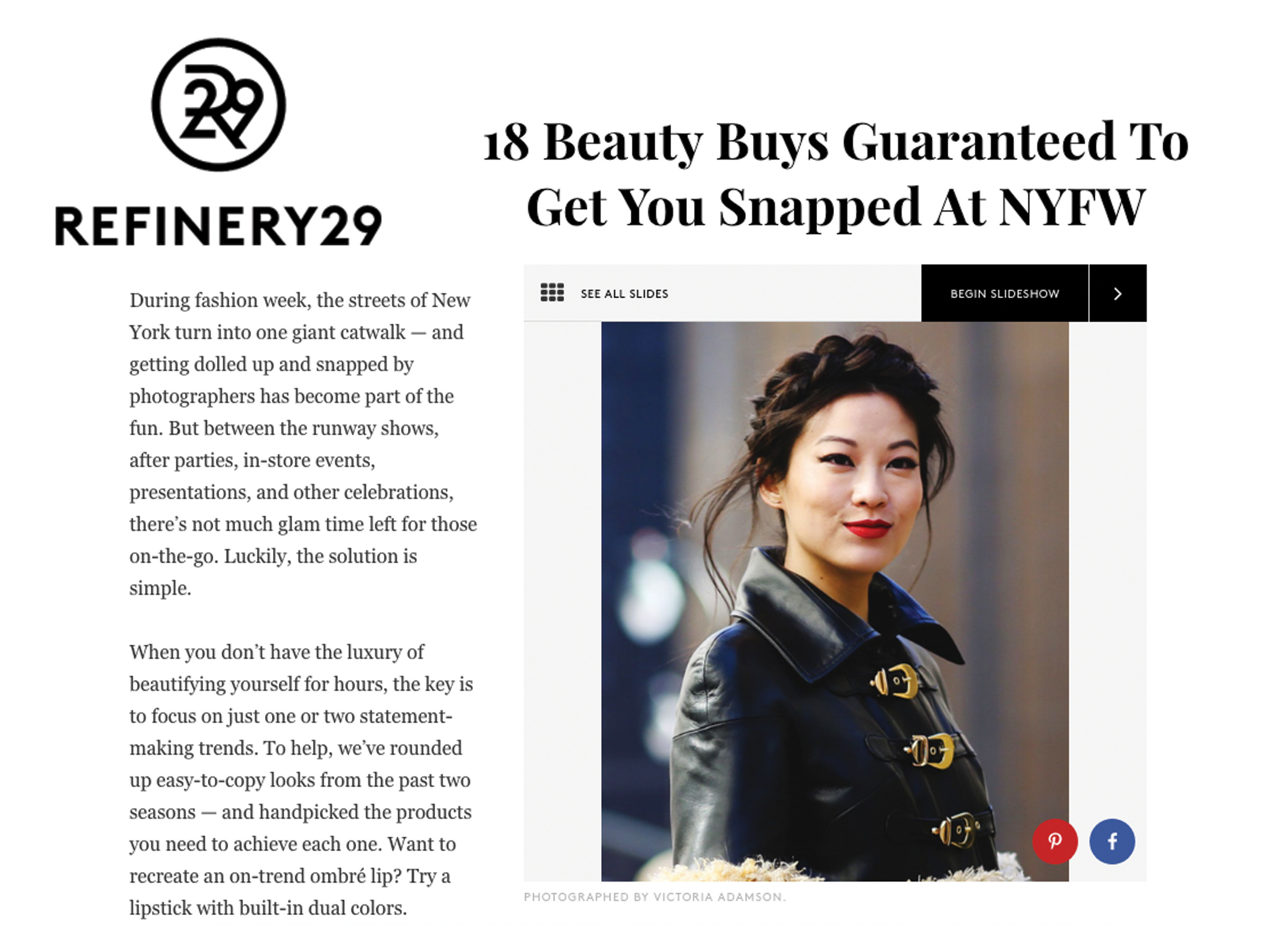Refinery 29 how to get photographed snapped at nyfw new york fashion week actress arden cho best dressed beauty hair braid red lip asian beauty lamb leather coat gold hardware buckles straps curly faux fur mongolian lamb made-to-measure womenswear bridal custom bespoke handcrafted sustainable ethical local production manufacturing made in new york city nyc brooklyn bushwick emerging designer ones to watch new talent rising star best of american fashion young designer